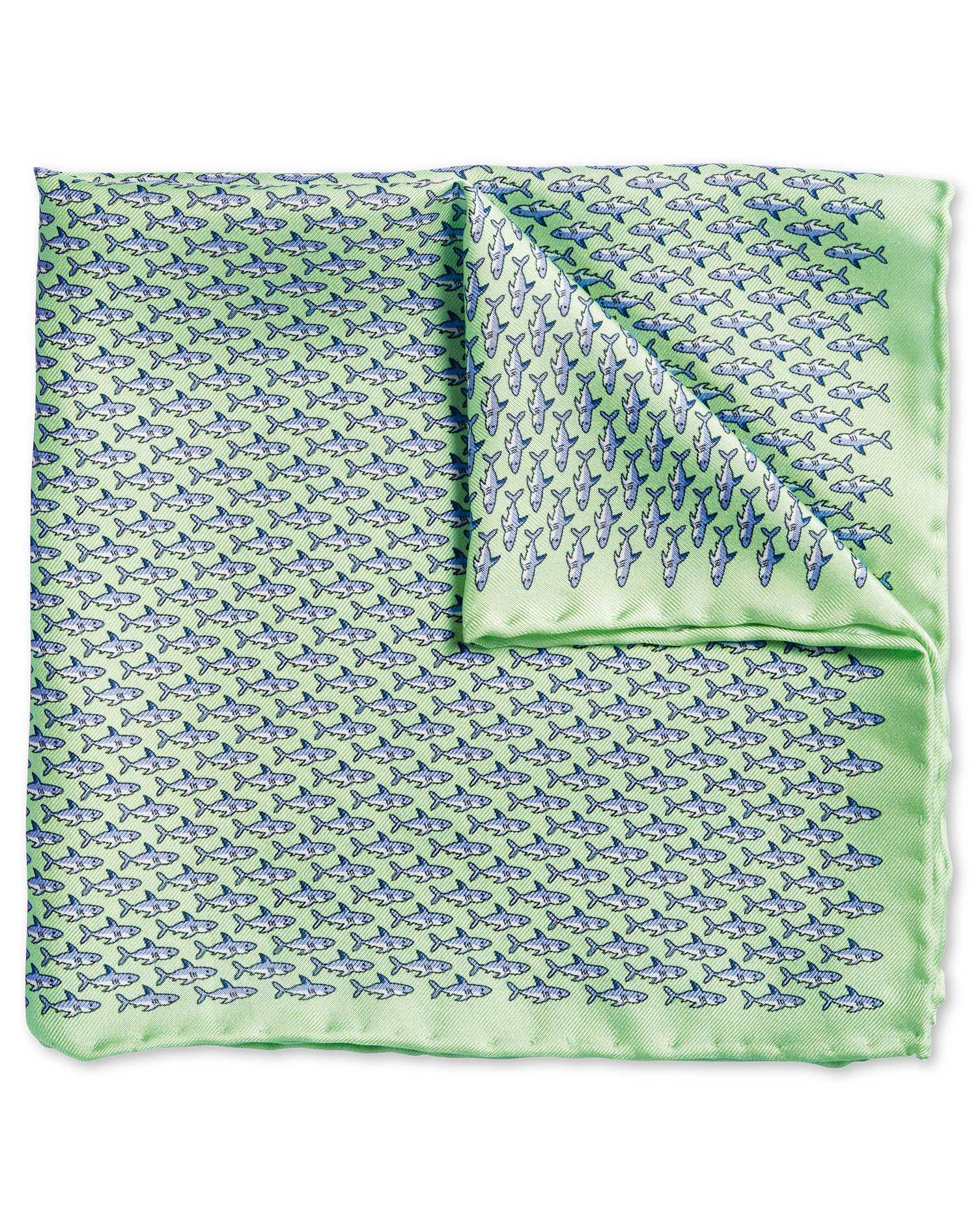 Light Green Shark Print Silk Pocket Square Size OSFA by Charles Tyrwhitt