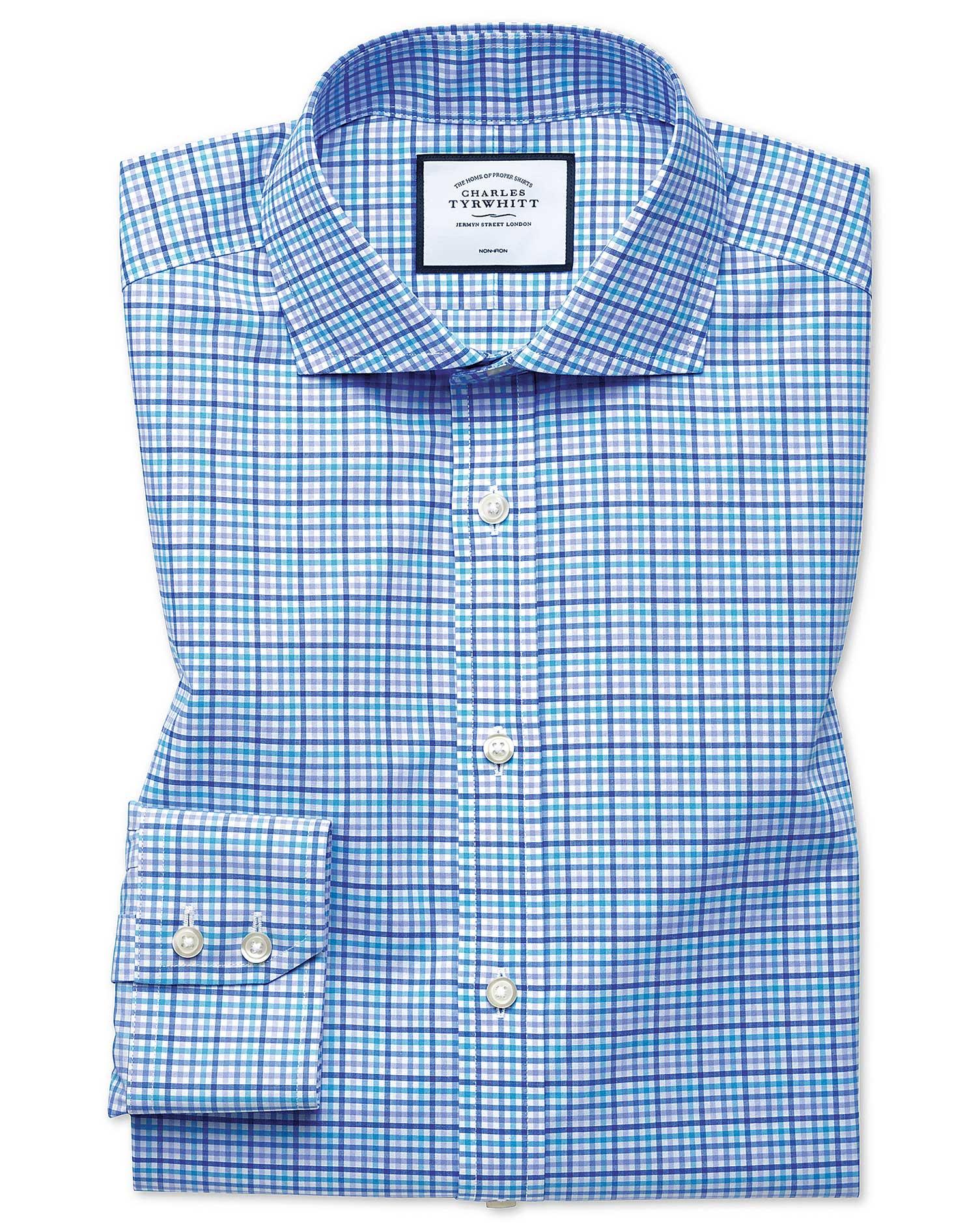 Extra Slim Fit Non-Iron Tyrwhitt Cool Poplin Purple Multi Cotton Formal Shirt Single Cuff Size 16/38