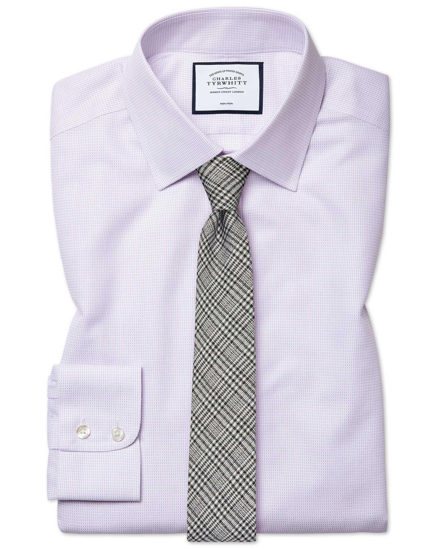Cotton Extra Slim Fit Non-Iron Dash Weave Lilac Shirt