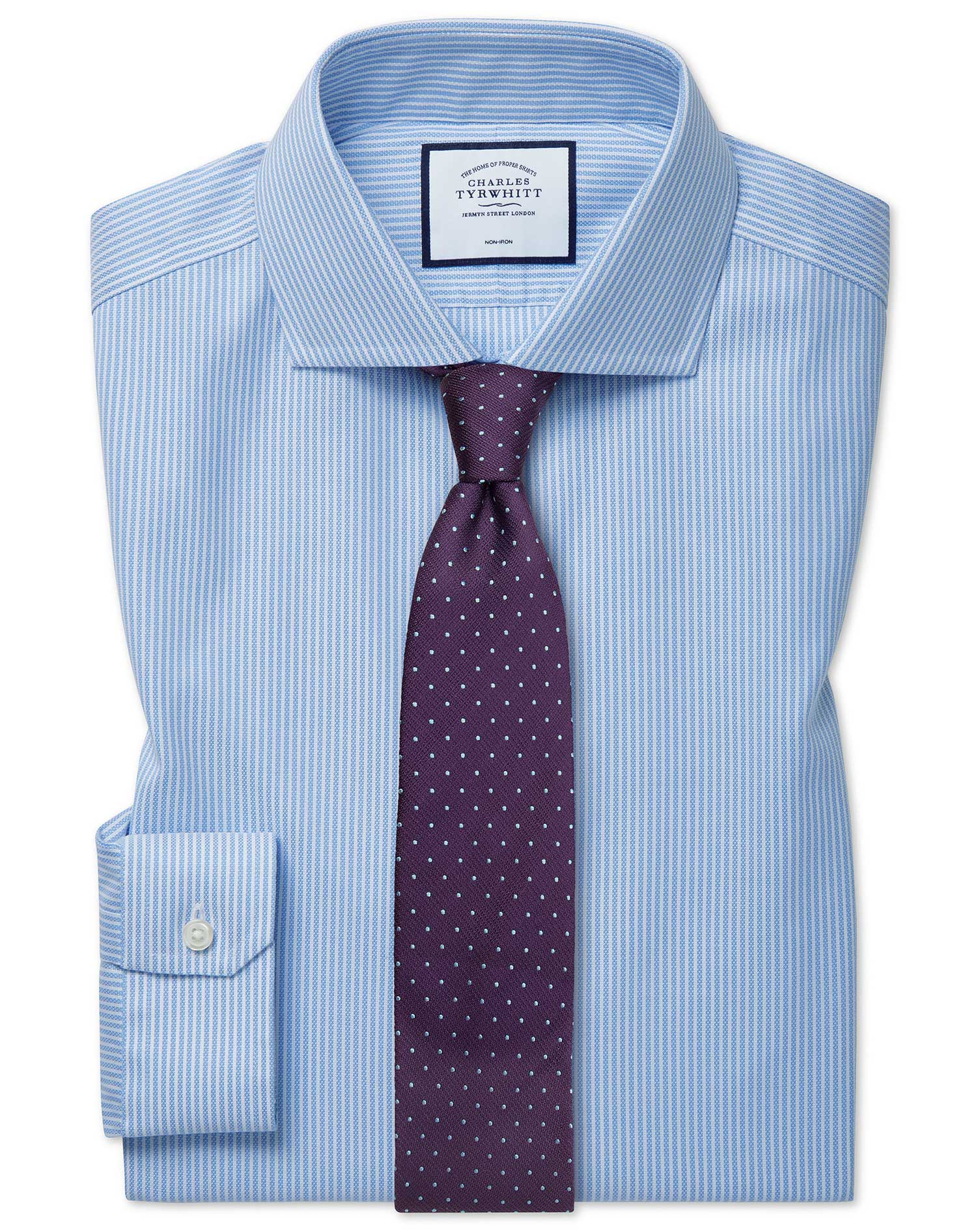 Super Slim Fit Cutaway Non-Iron Cotton Stretch Oxford Sky Blue Stripe Formal Shirt Single Cuff Size
