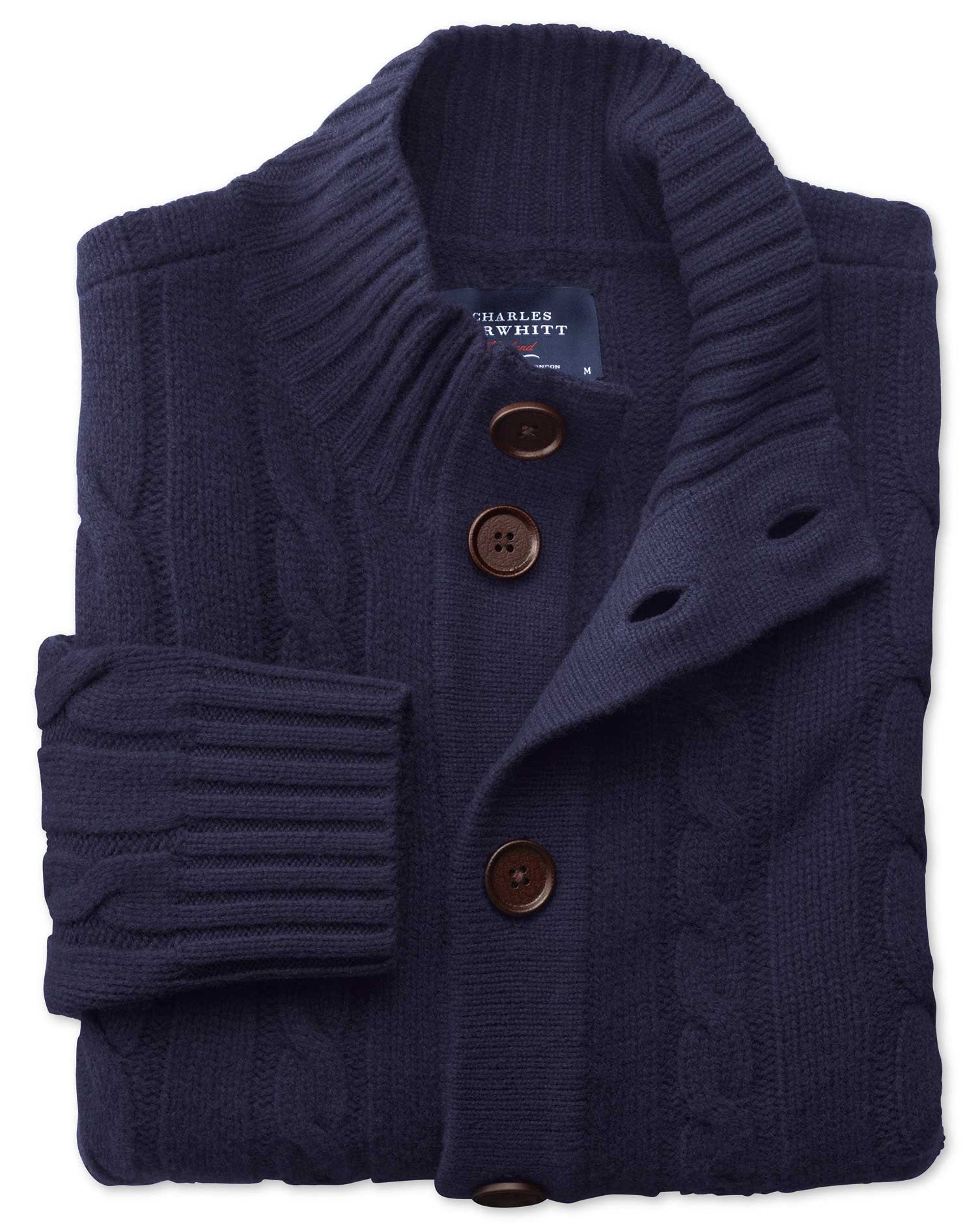 Navy Lambswool Cable Cardigan Size Large by Charles Tyrwhitt