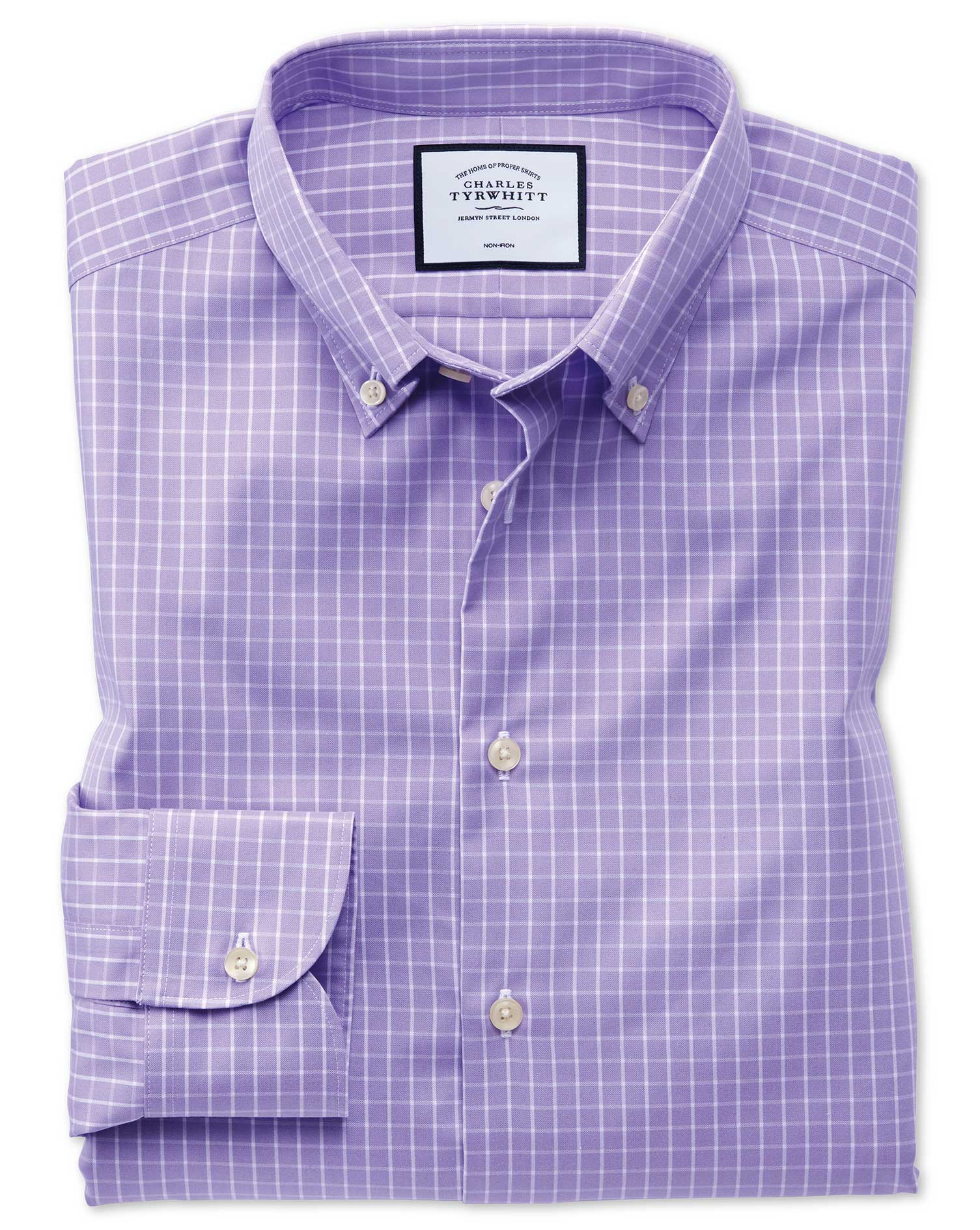 Classic Fit Business Casual Non-Iron Button-Down Lilac Cotton Formal Shirt Single Cuff Size 16.5/33