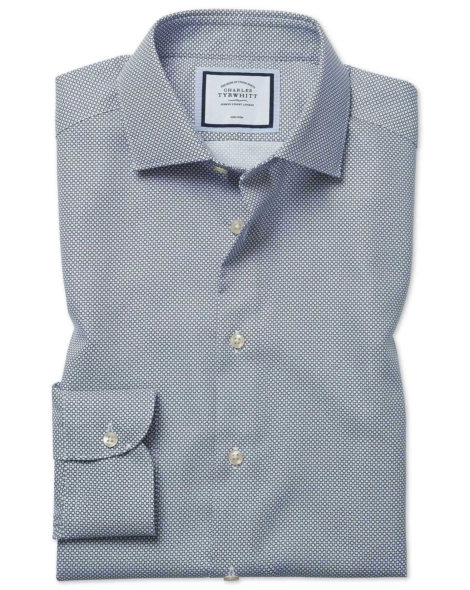 Cotton Extra Slim Fit Non-Iron Circle Print Navy Shirt