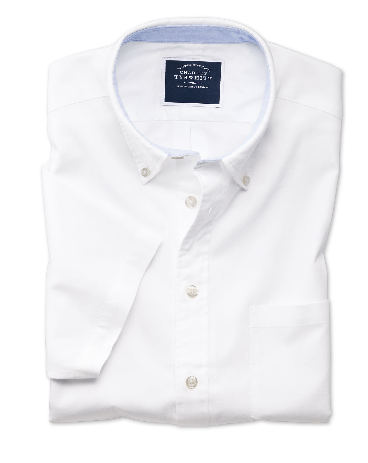 Slim Fit Button-Down Washed Oxford Short Sleeve White Cotton Shirt Single Cuff Size XS by Charles Ty
