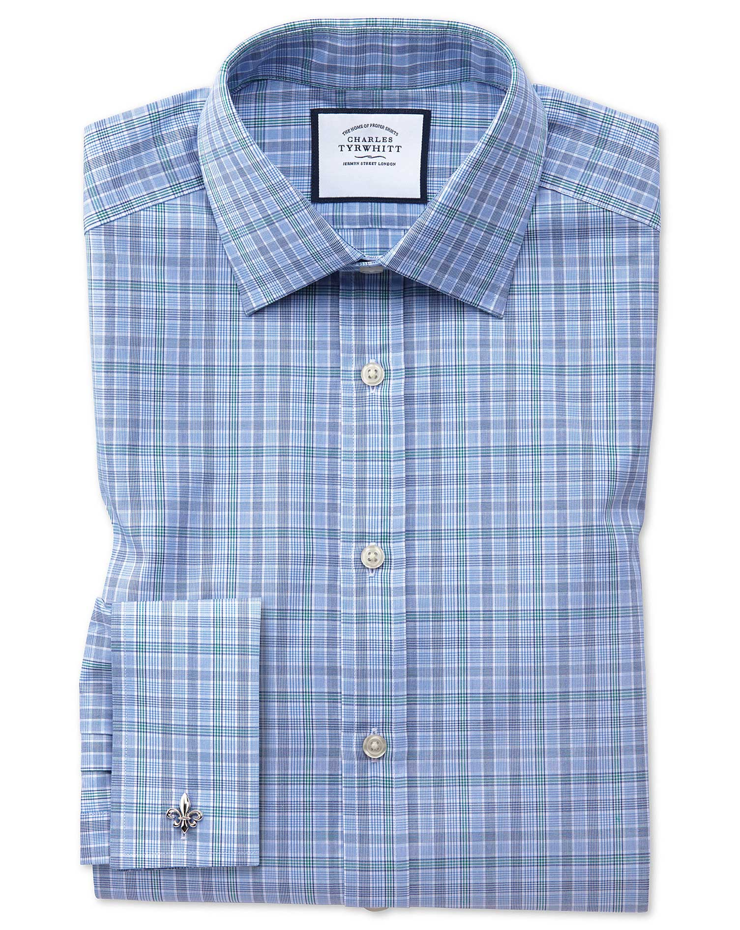 Slim Fit Blue and Green Prince Of Wales Check Cotton Formal Shirt Single Cuff Size 15.5/32 by Charle