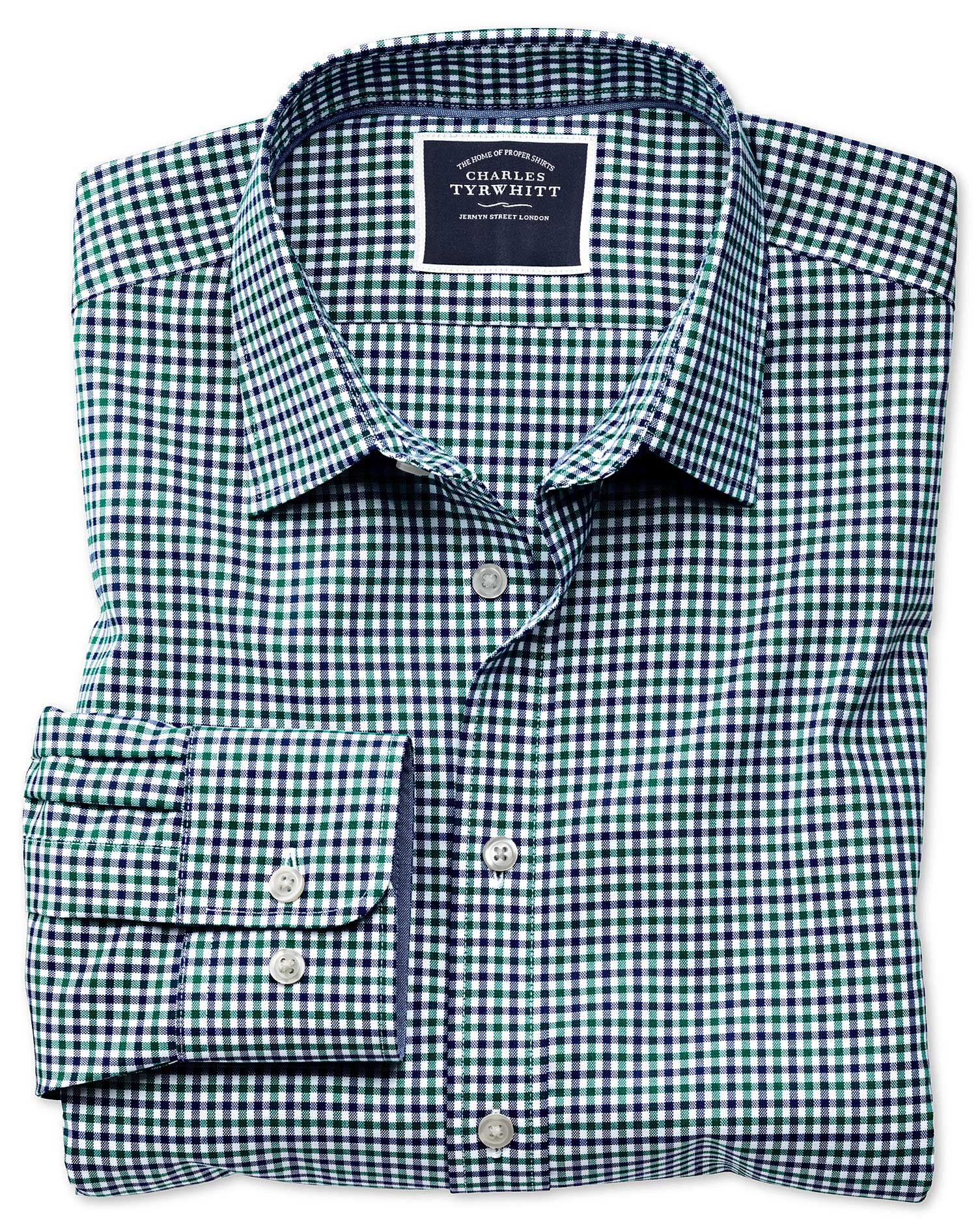Classic Fit Non-Iron Green and Blue Gingham Oxford Cotton Shirt Single Cuff Size Large by Charles Ty