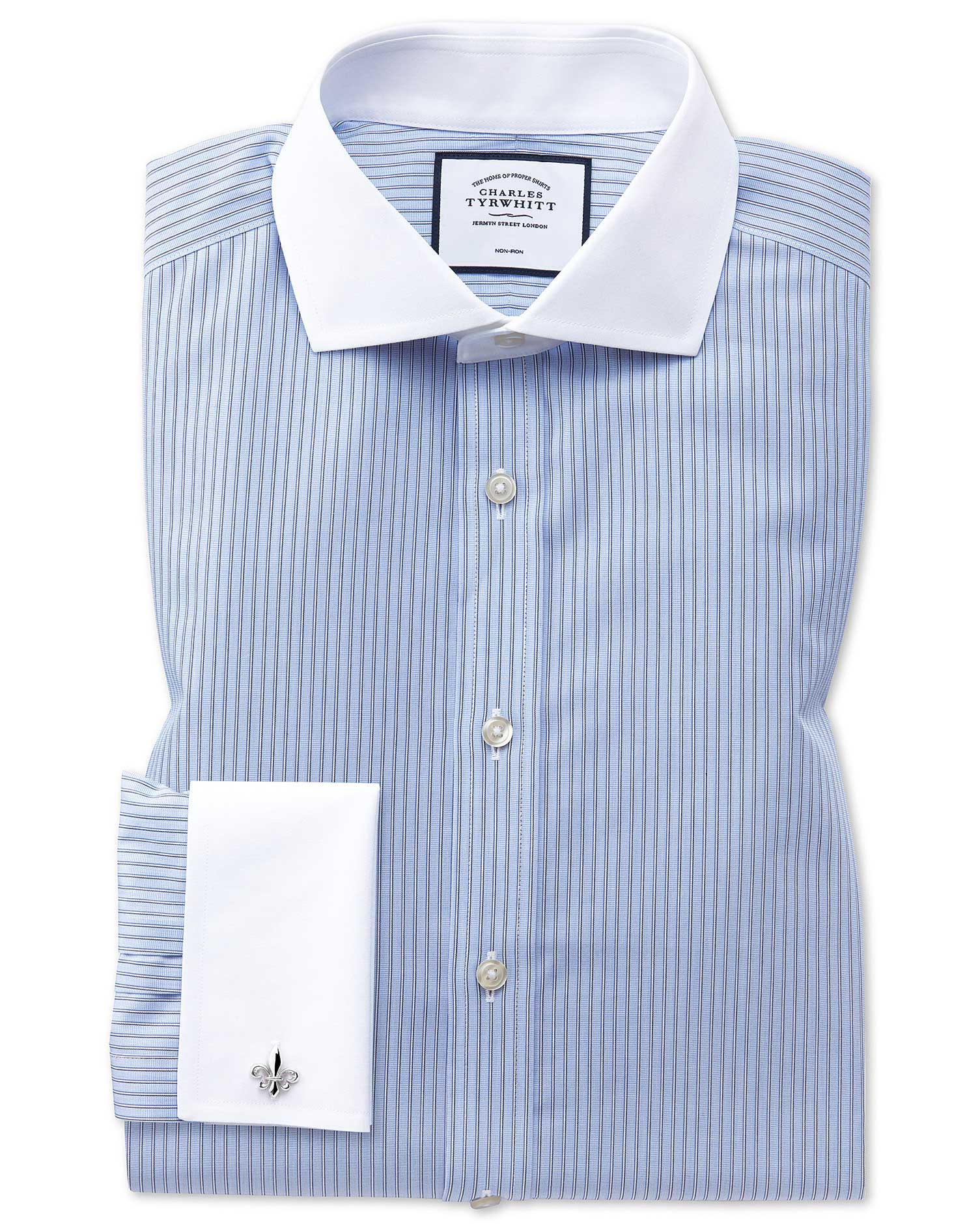 Slim Fit Non-Iron Cutaway Collar Winchester Blue and White Stripe Cotton Formal Shirt Single Cuff Si