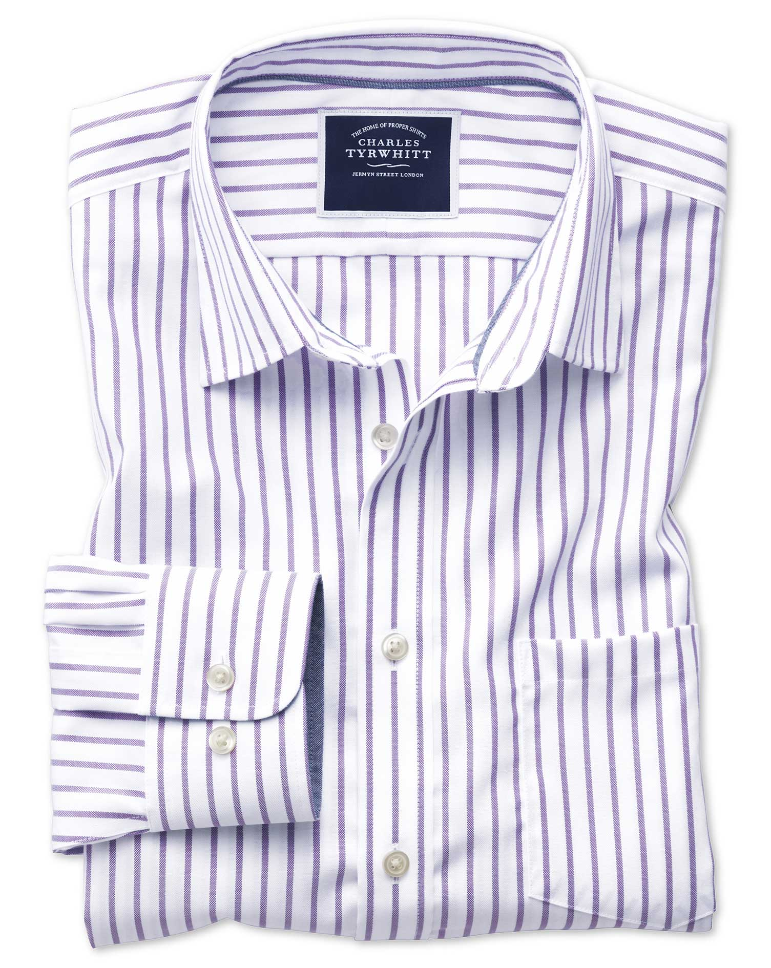 Classic Fit Non-Iron Oxford White and Lilac Stripe Cotton Shirt Single Cuff Size XL by Charles Tyrwh