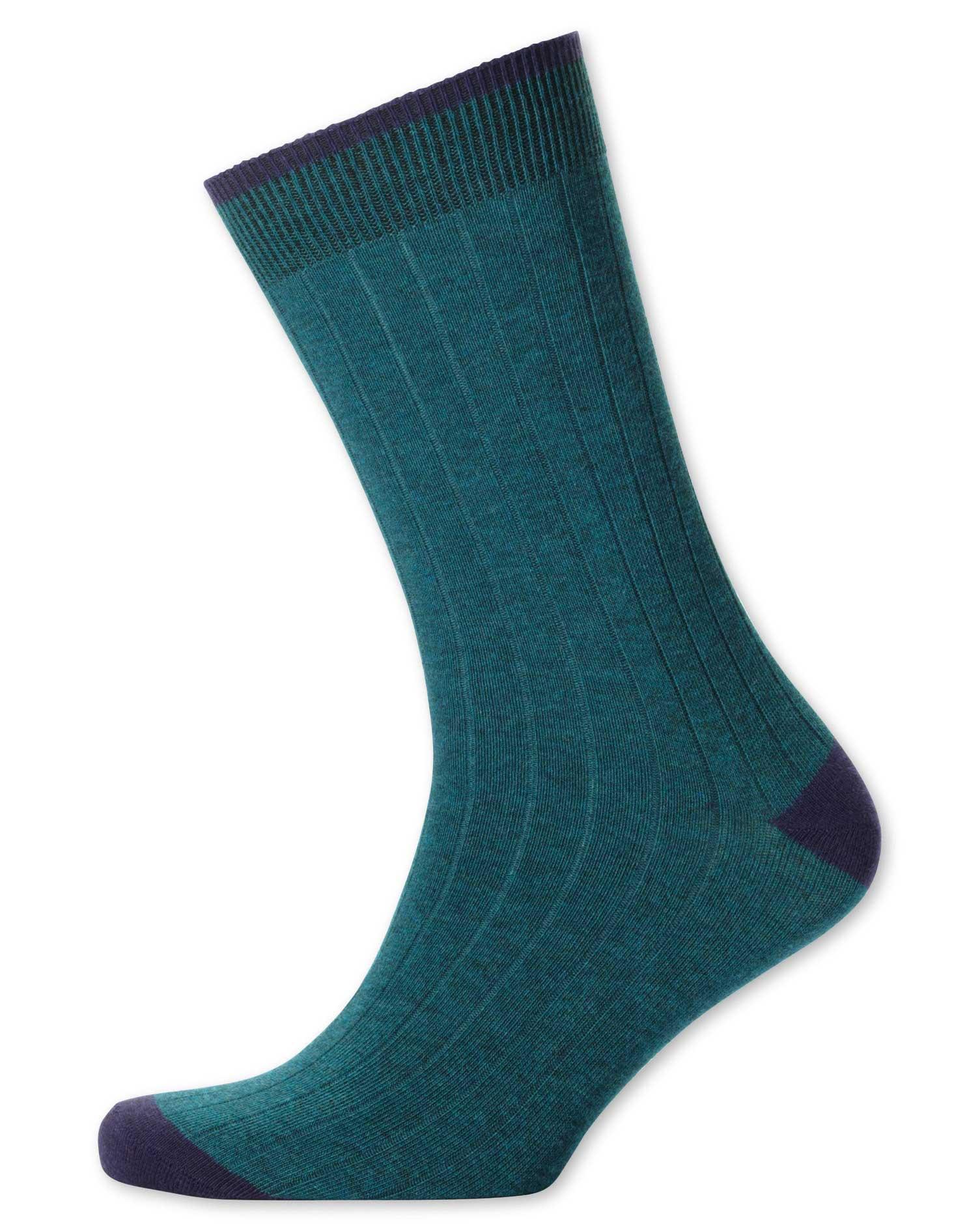 Teal Ribbed Socks Size Medium by Charles Tyrwhitt