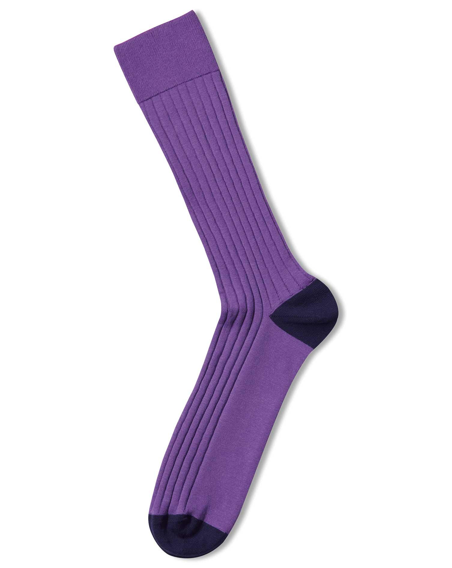 Purple Cotton Rib Socks Size Large by Charles Tyrwhitt