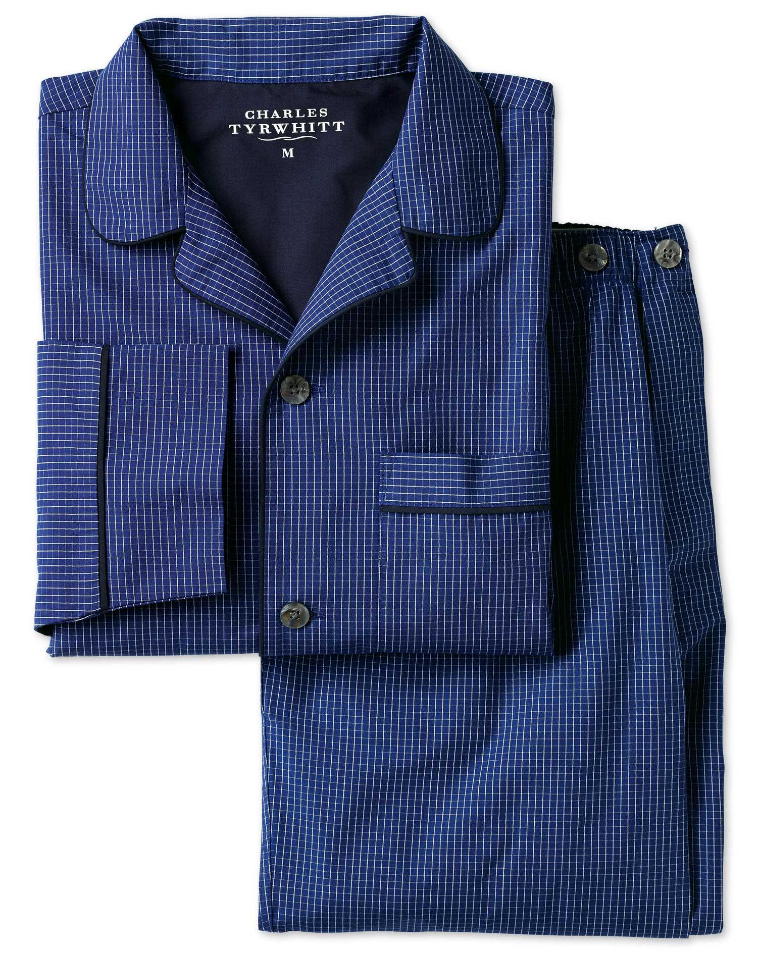 Blue Windowpane Check Pyjama Set Size XXL by Charles Tyrwhitt