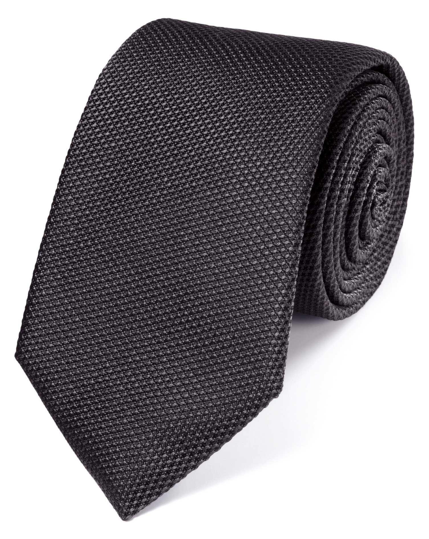 Charcoal Silk Plain Classic Tie Size OSFA by Charles Tyrwhitt