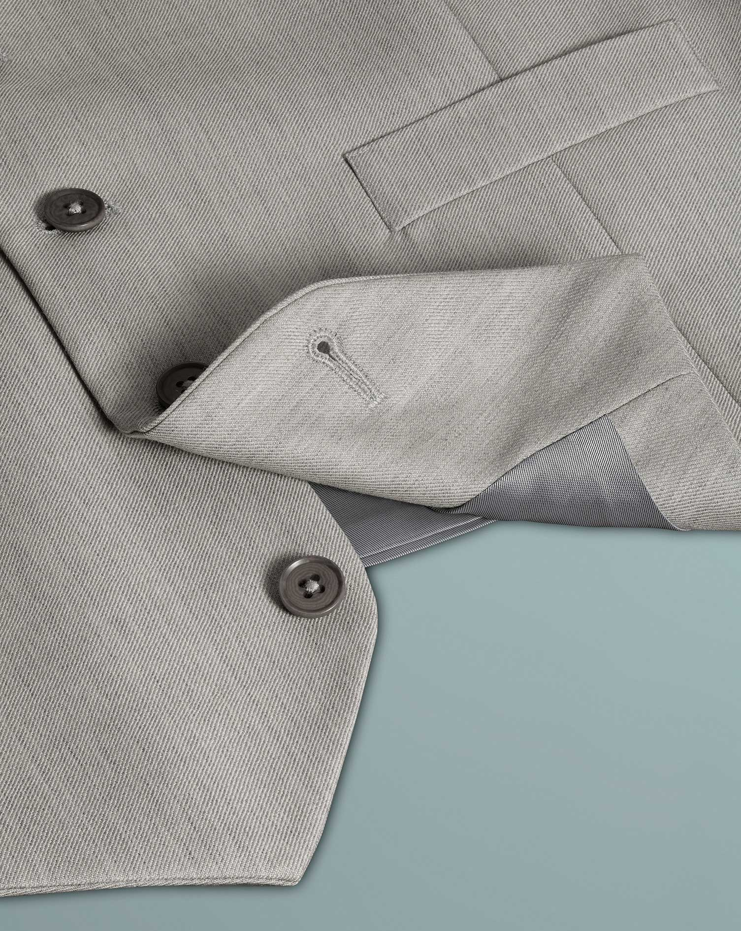 Light grey adjustable fit twill business suit vests