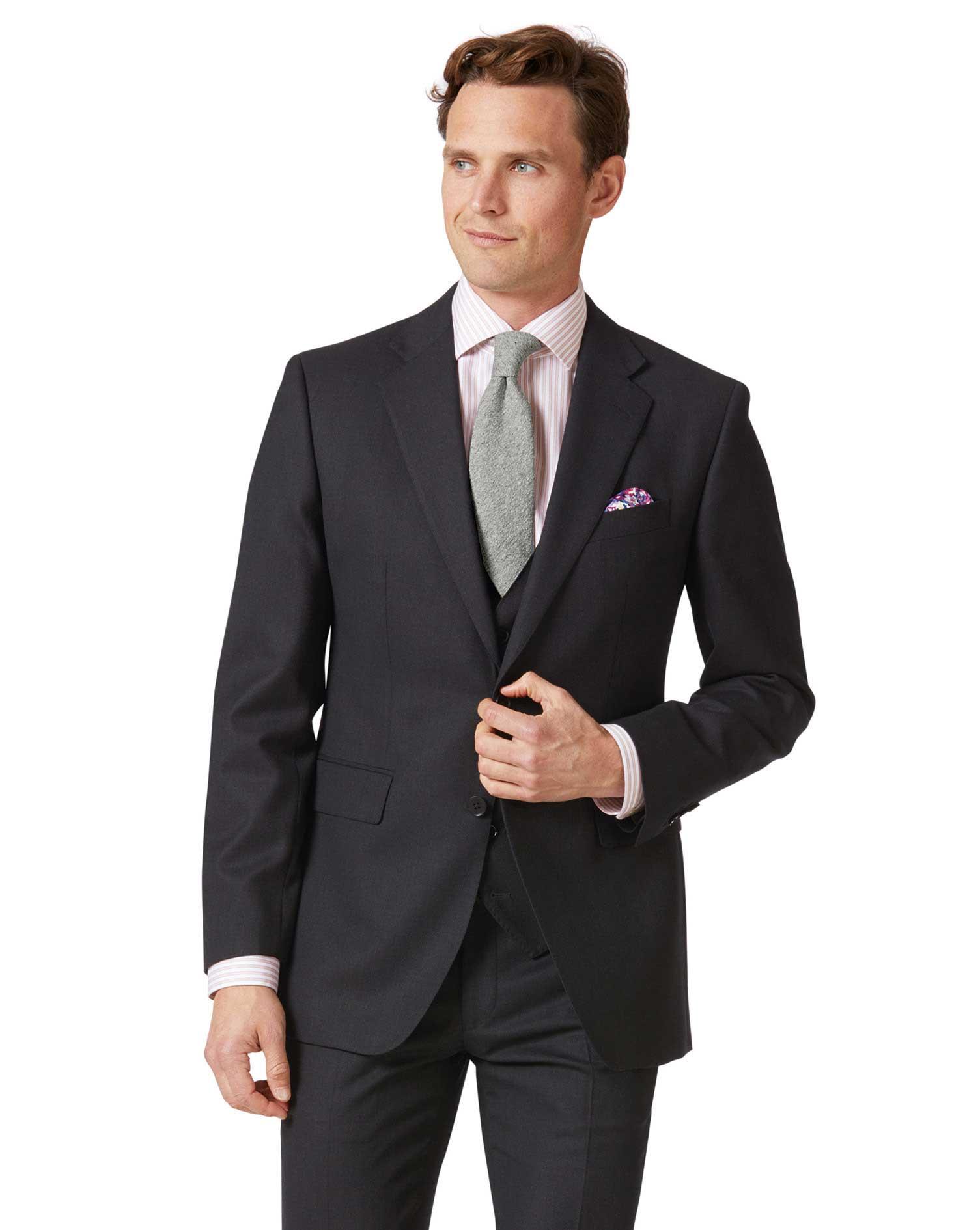 Charcoal Slim Fit Birdseye Travel Suit Wool Jacket Size 46 Long by Charles Tyrwhitt