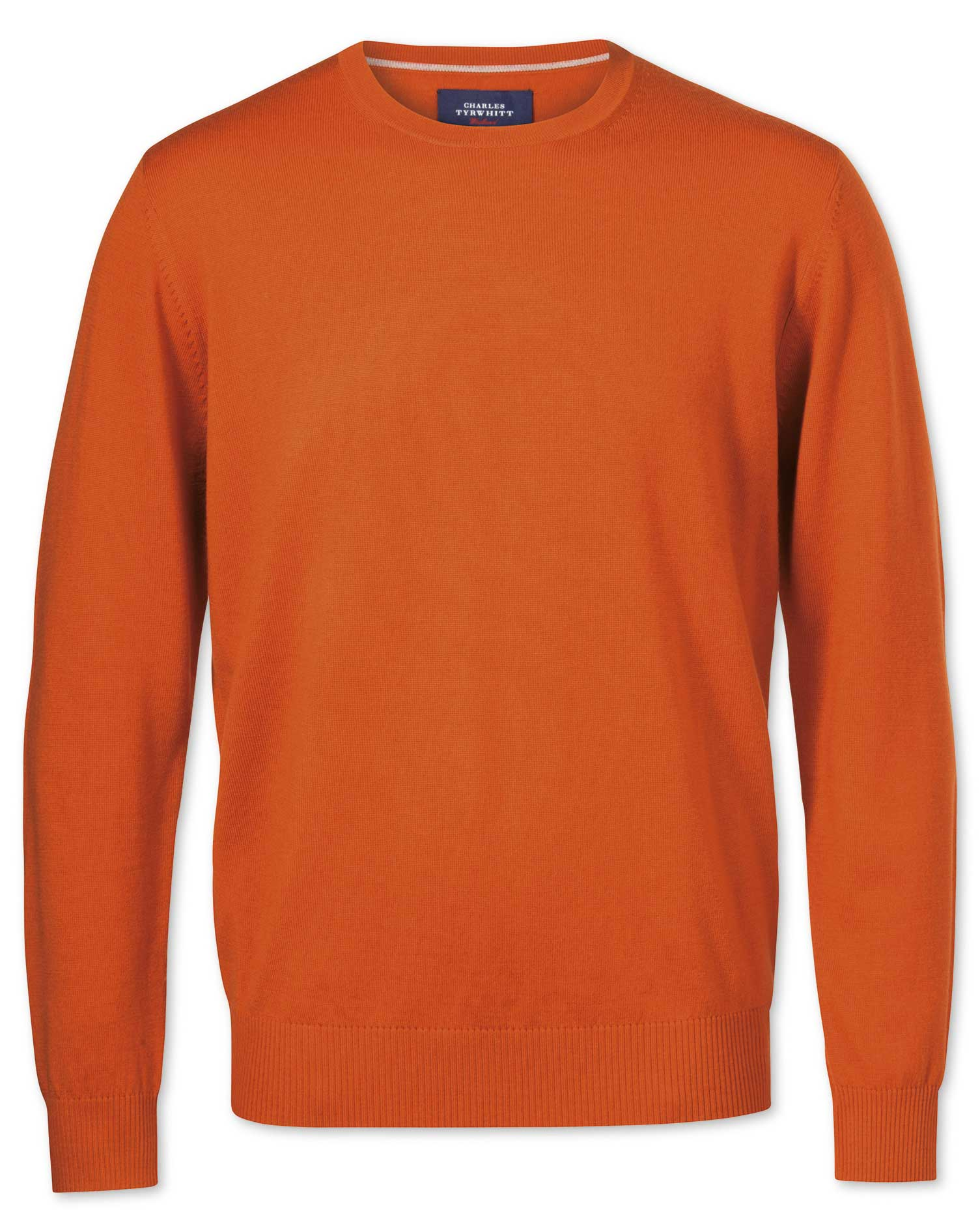 Orange Merino Crew Neck Wool Jumper Size XL by Charles Tyrwhitt