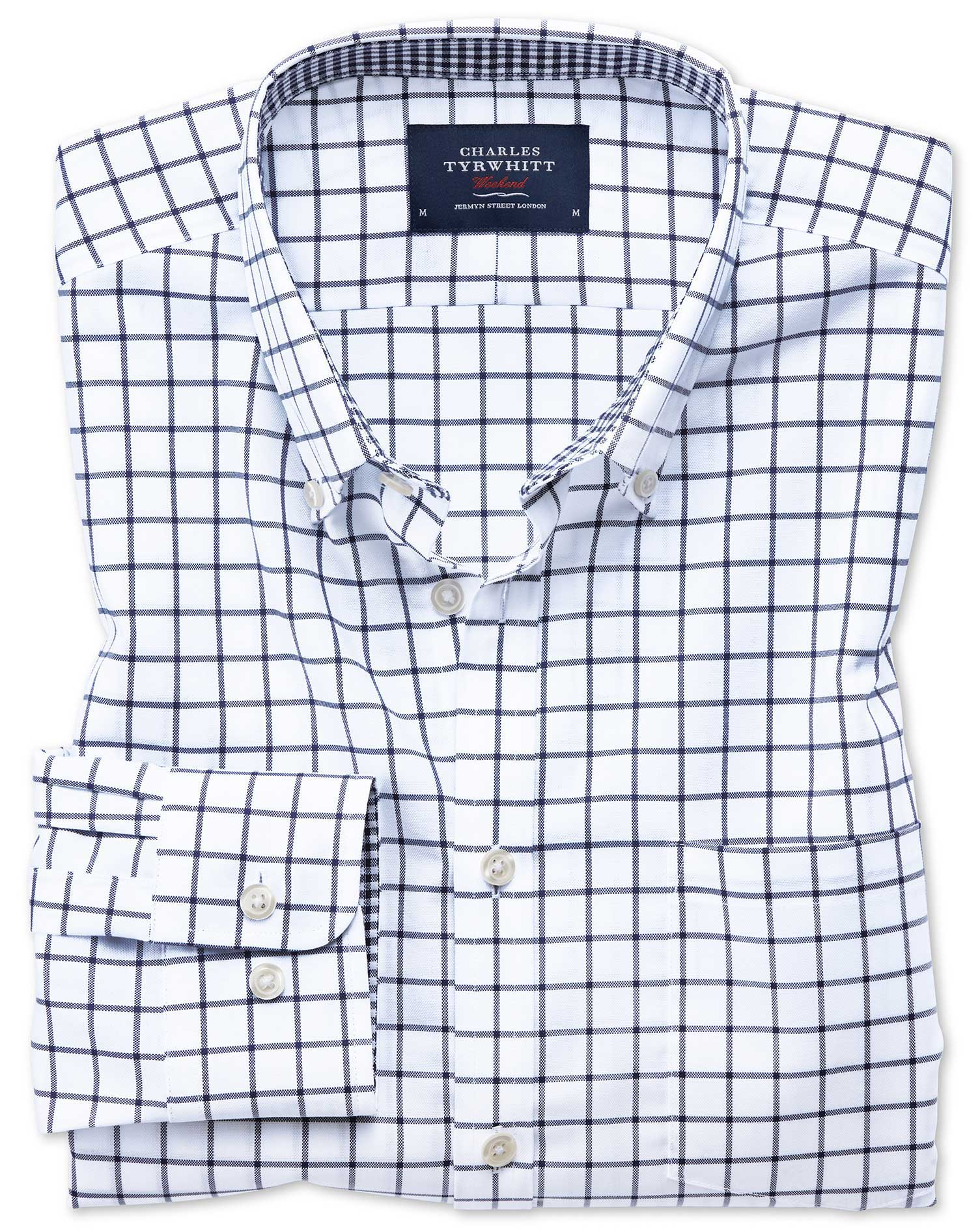 Slim Fit Button-Down Non-Iron Oxford Navy Windowpane Check Cotton Shirt Single Cuff Size XL by Charl