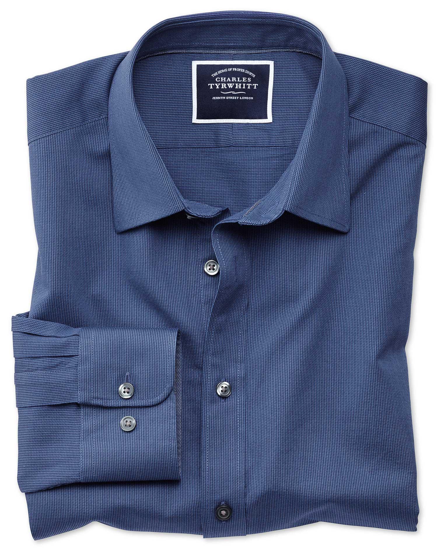Extra Slim Fit Royal Blue Soft Textured Cotton Shirt Single Cuff Size XL by Charles Tyrwhitt