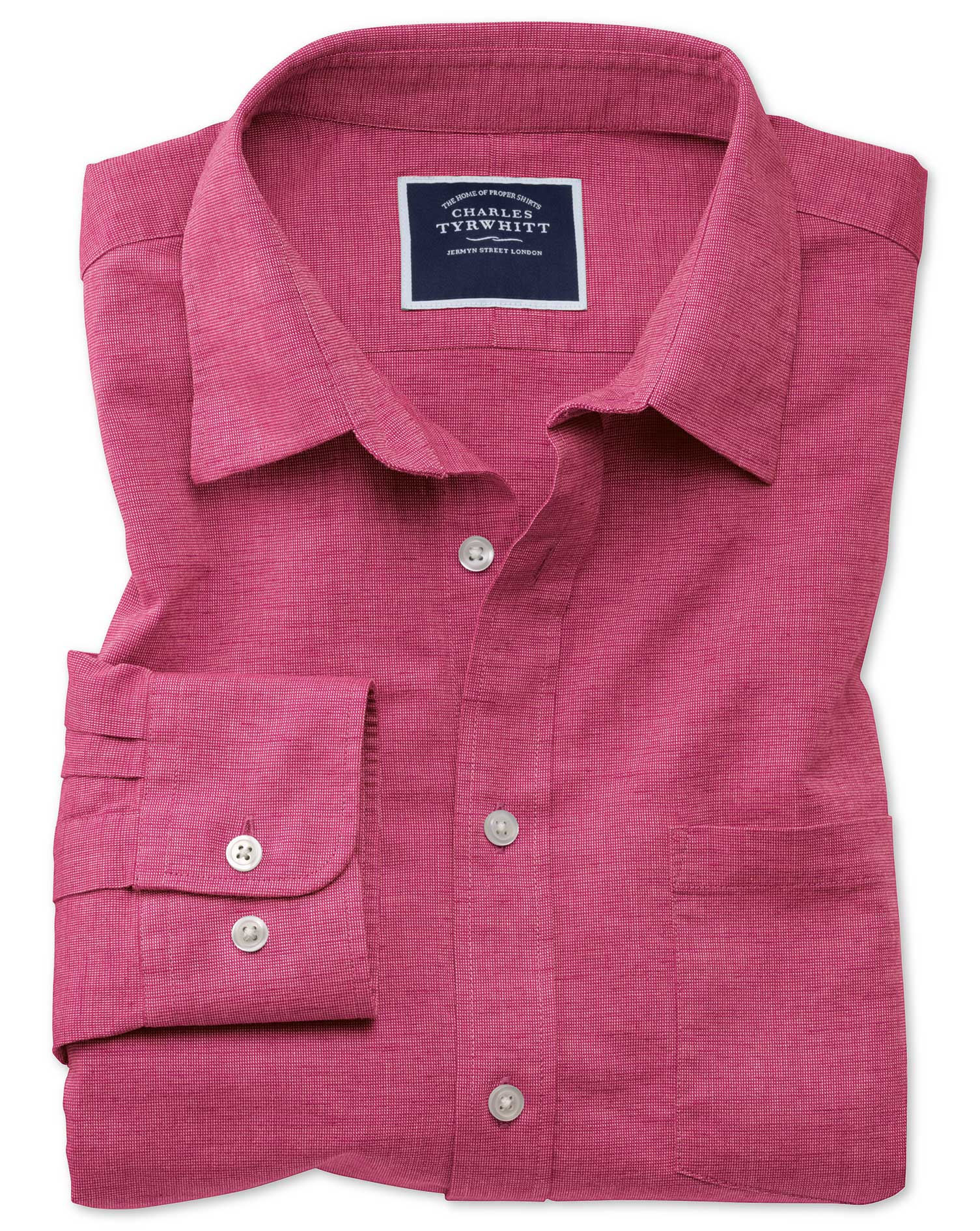 Slim Fit Cotton Linen Bright Pink Plain Shirt Single Cuff Size Large by Charles Tyrwhitt
