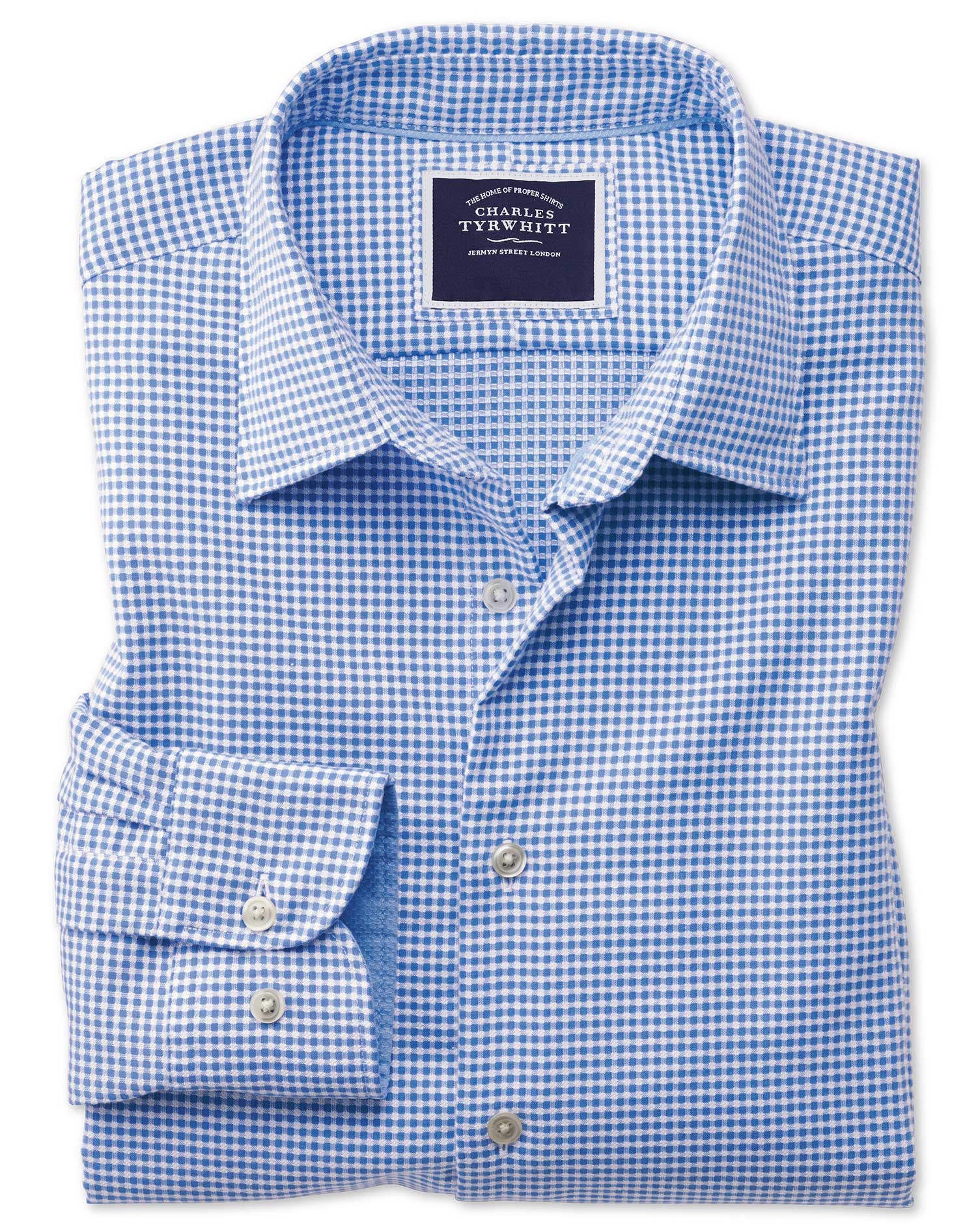 Classic Fit Washed Blue Textured Check Cotton Shirt Single Cuff Size Large by Charles Tyrwhitt