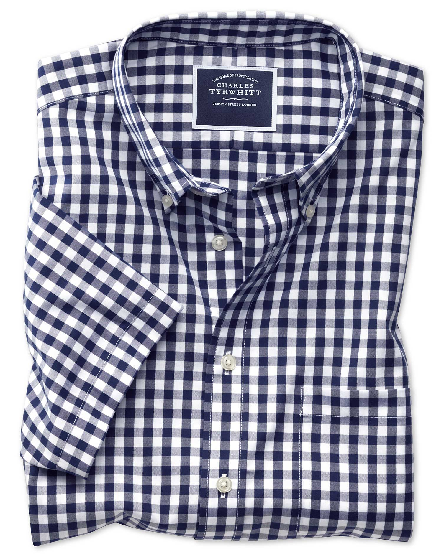 Slim fit button down non iron poplin short sleeve navy for Navy blue gingham shirt