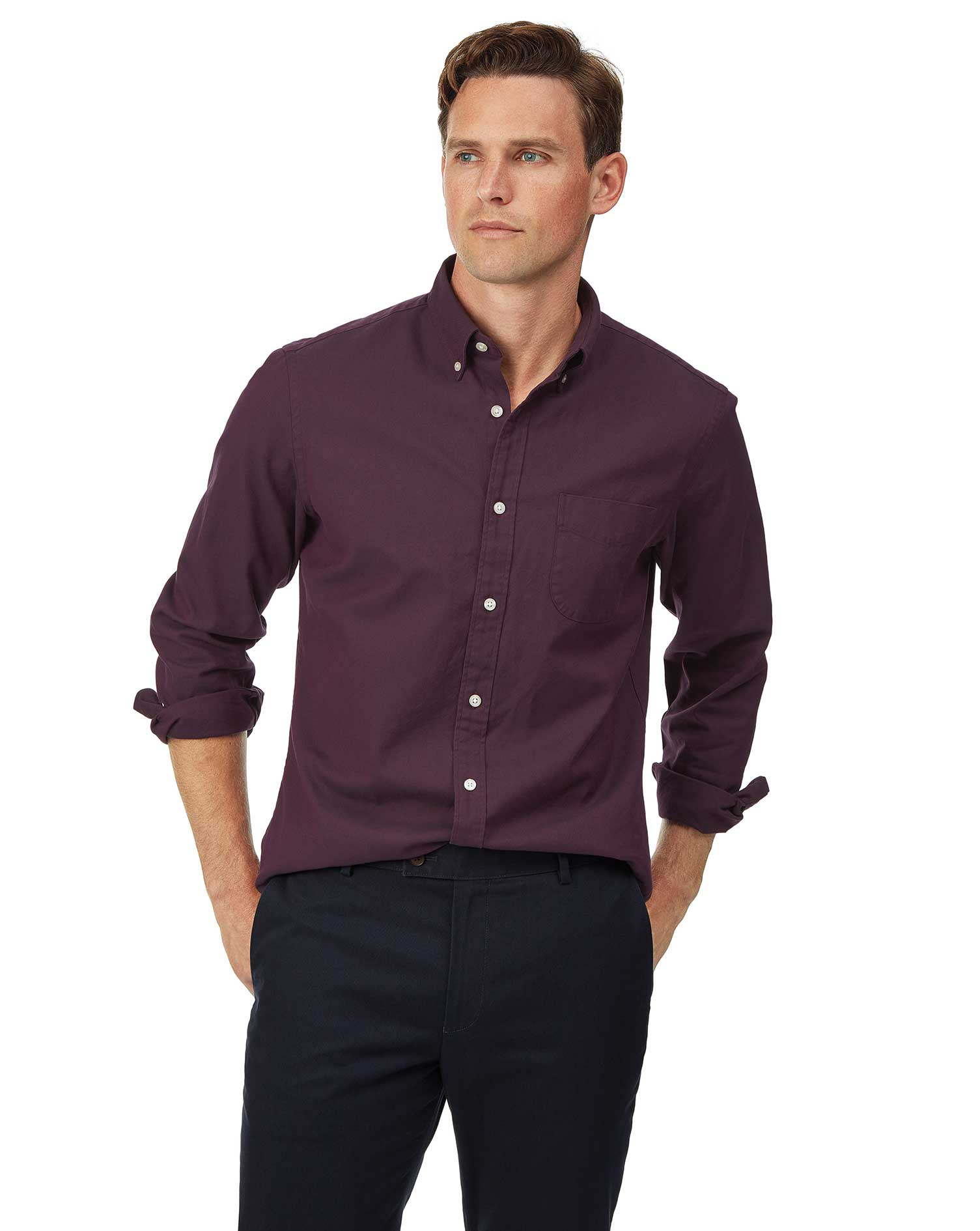 Cotton Slim Fit Button-Down Washed Oxford Berry Shirt
