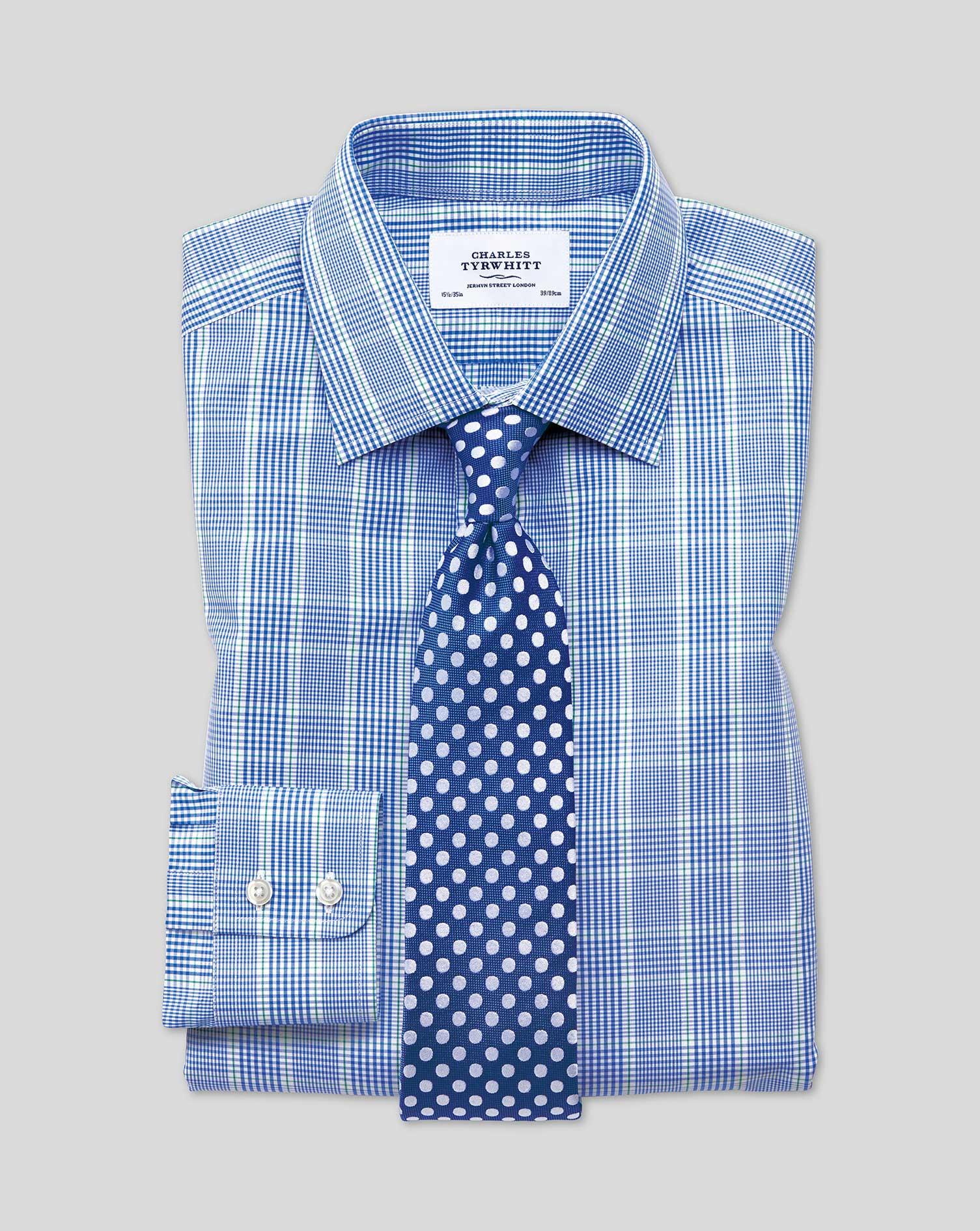 Chemise Prince De Galles Bleue Et Verte Slim Fit - Bleu/Vert - 15.5 / 33