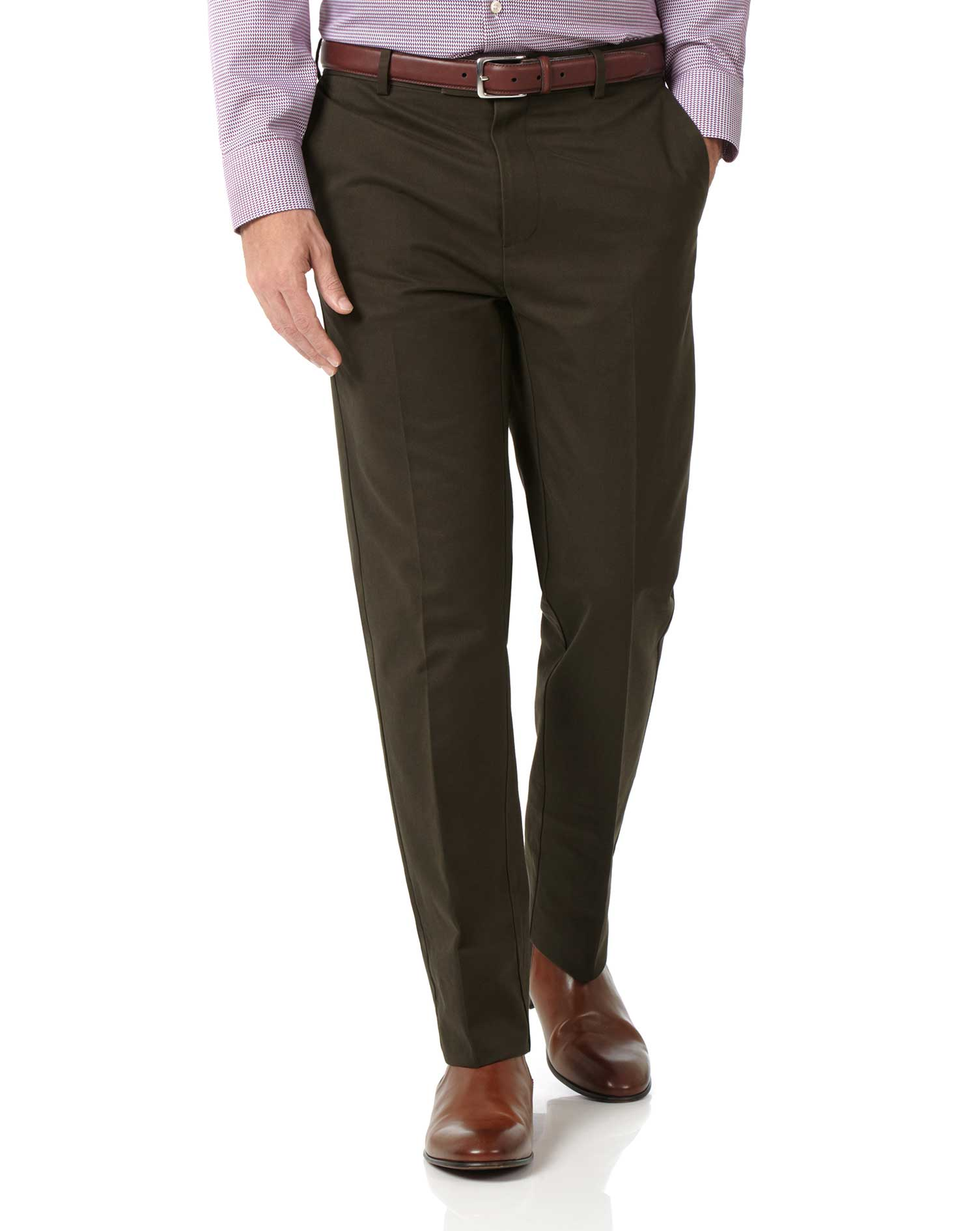 Brown Slim Fit Flat Front Non-Iron Cotton Chino Trousers Size W38 L32 by Charles Tyrwhitt
