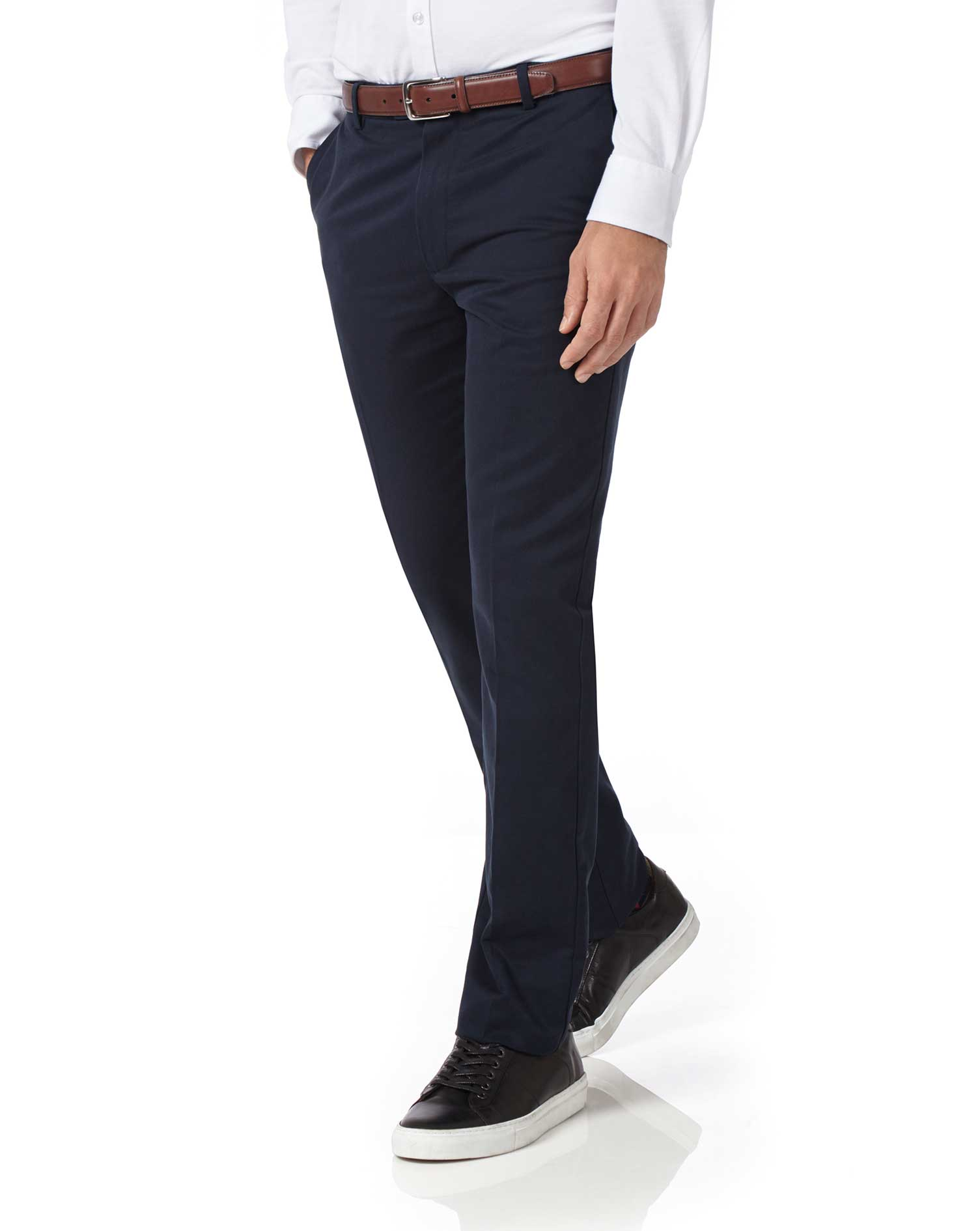 Navy extra slim fit flat front non iron chinos charles for Charles tyrwhitt shirts review