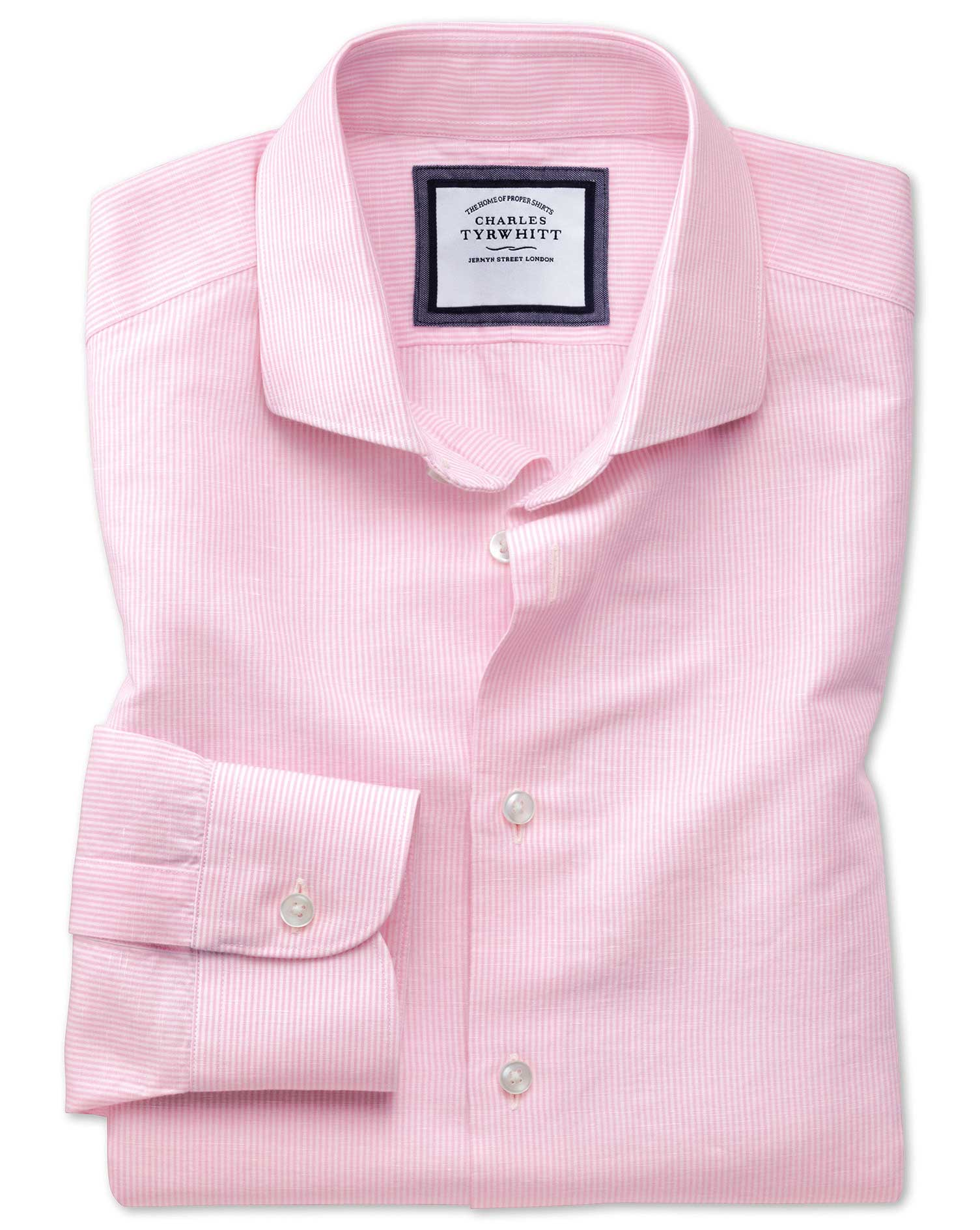Slim Fit Cutaway Business Casual Linen Cotton Pink and White Cotton Linen Mix Formal Shirt Single Cu