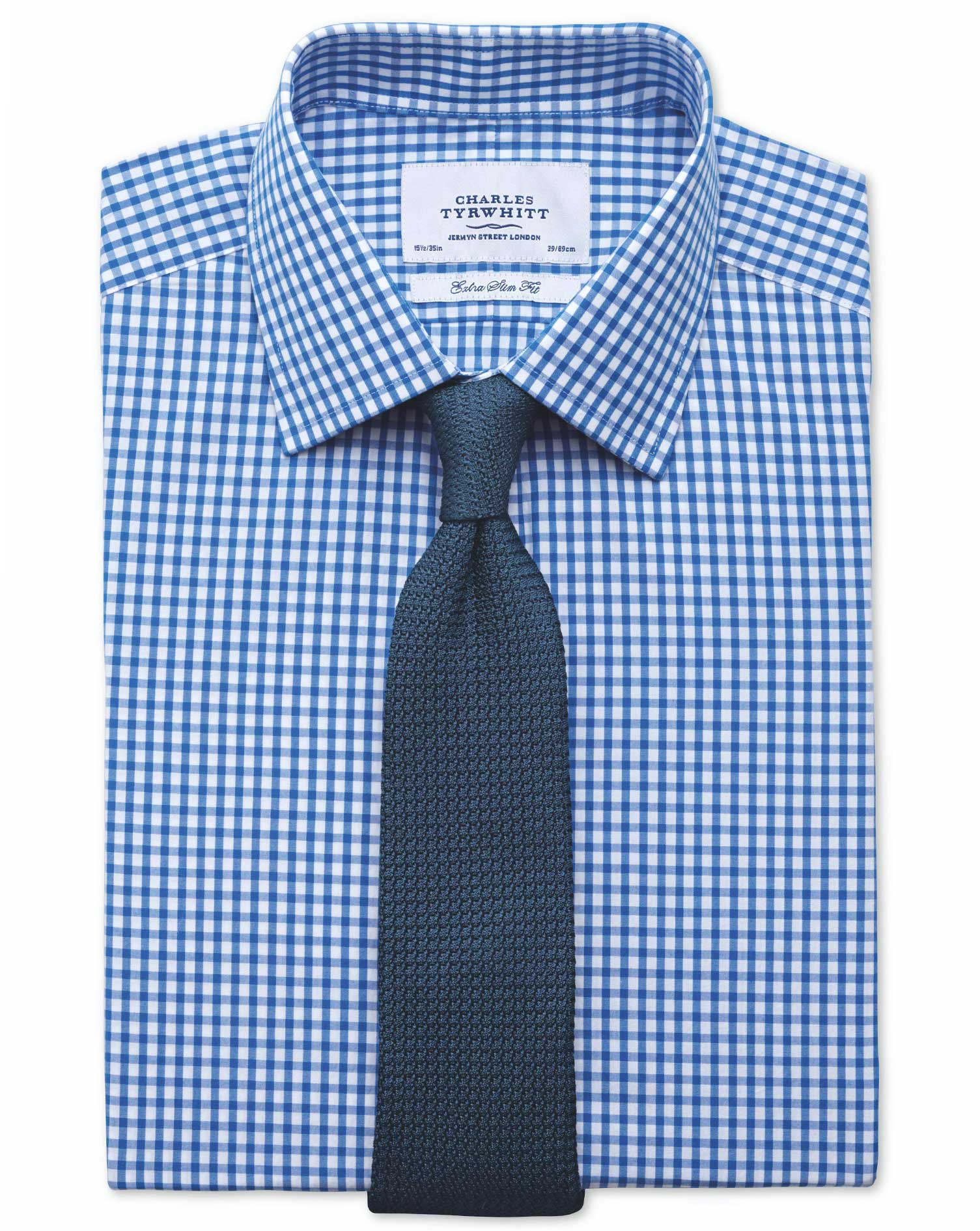 Extra Slim Fit Gingham Royal Blue Cotton Formal Shirt Double Cuff Size 15.5/35 by Charles Tyrwhitt