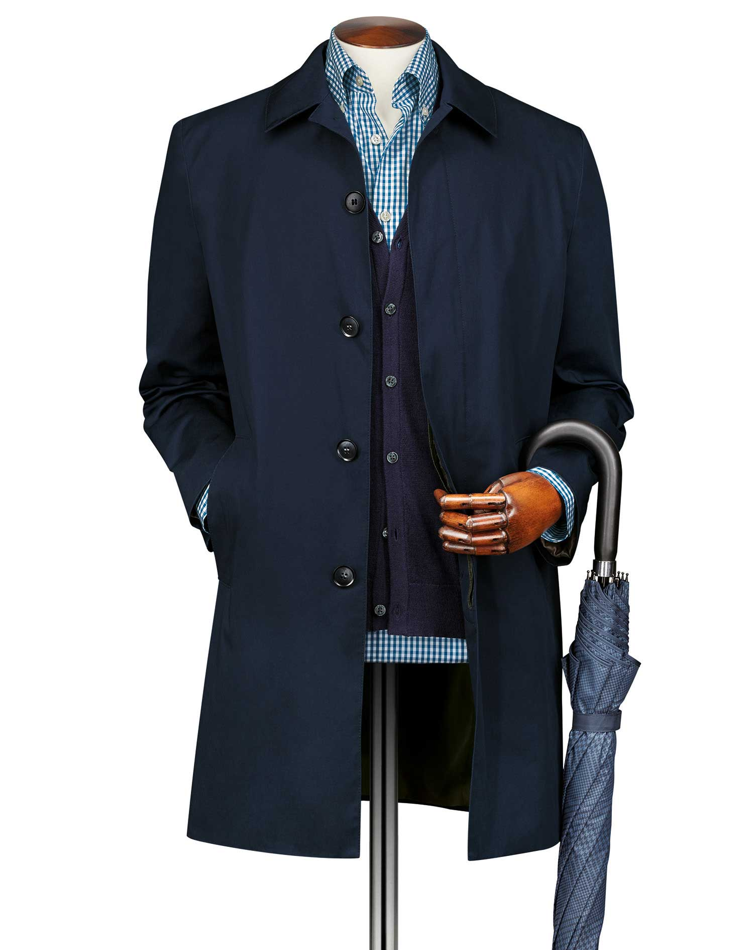 Blue cotton raincoat | Charles Tyrwhitt