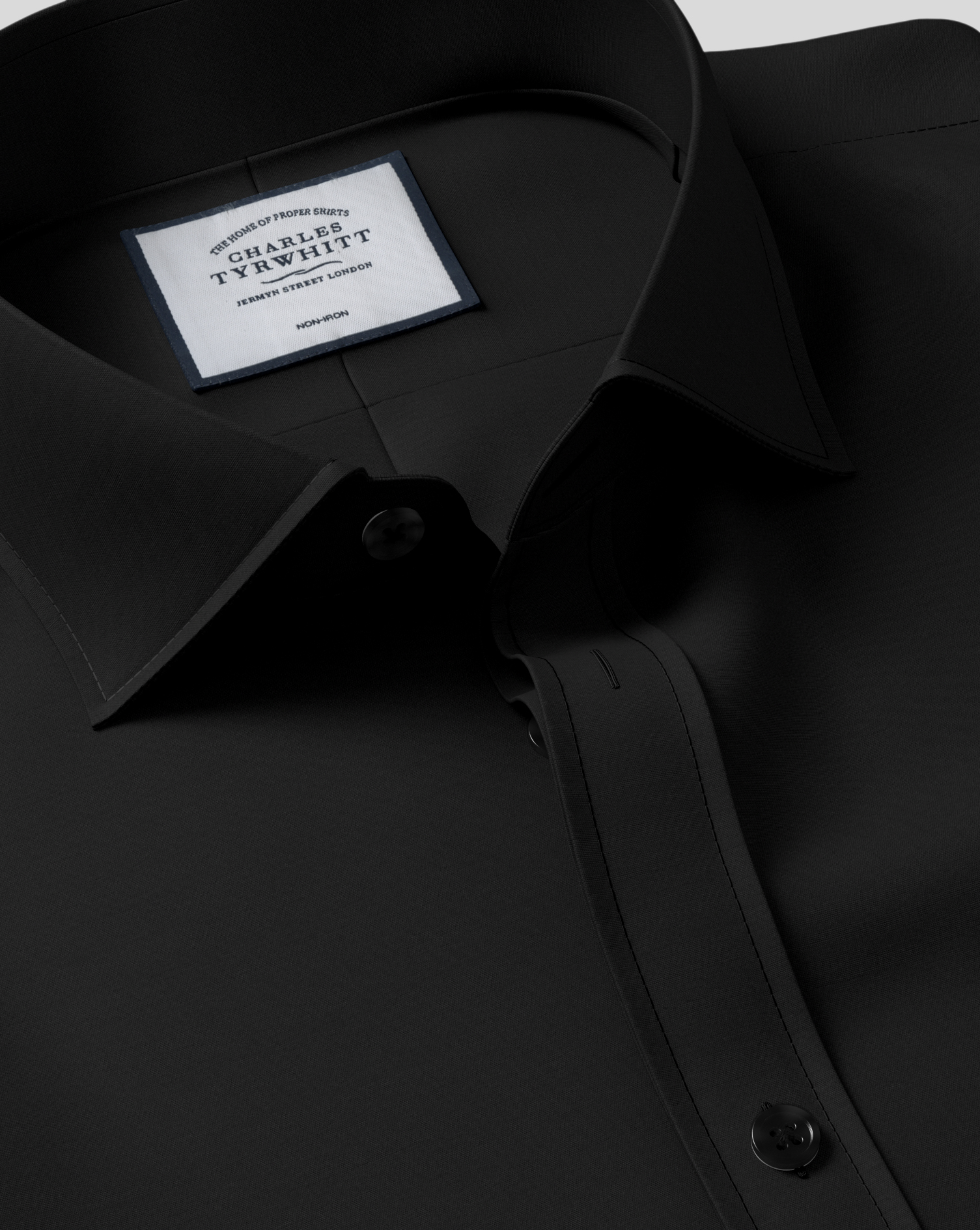 Slim Fit Cutaway Collar Black Non-Iron Poplin Cotton Formal Shirt Single Cuff Size 17/38 by Charles