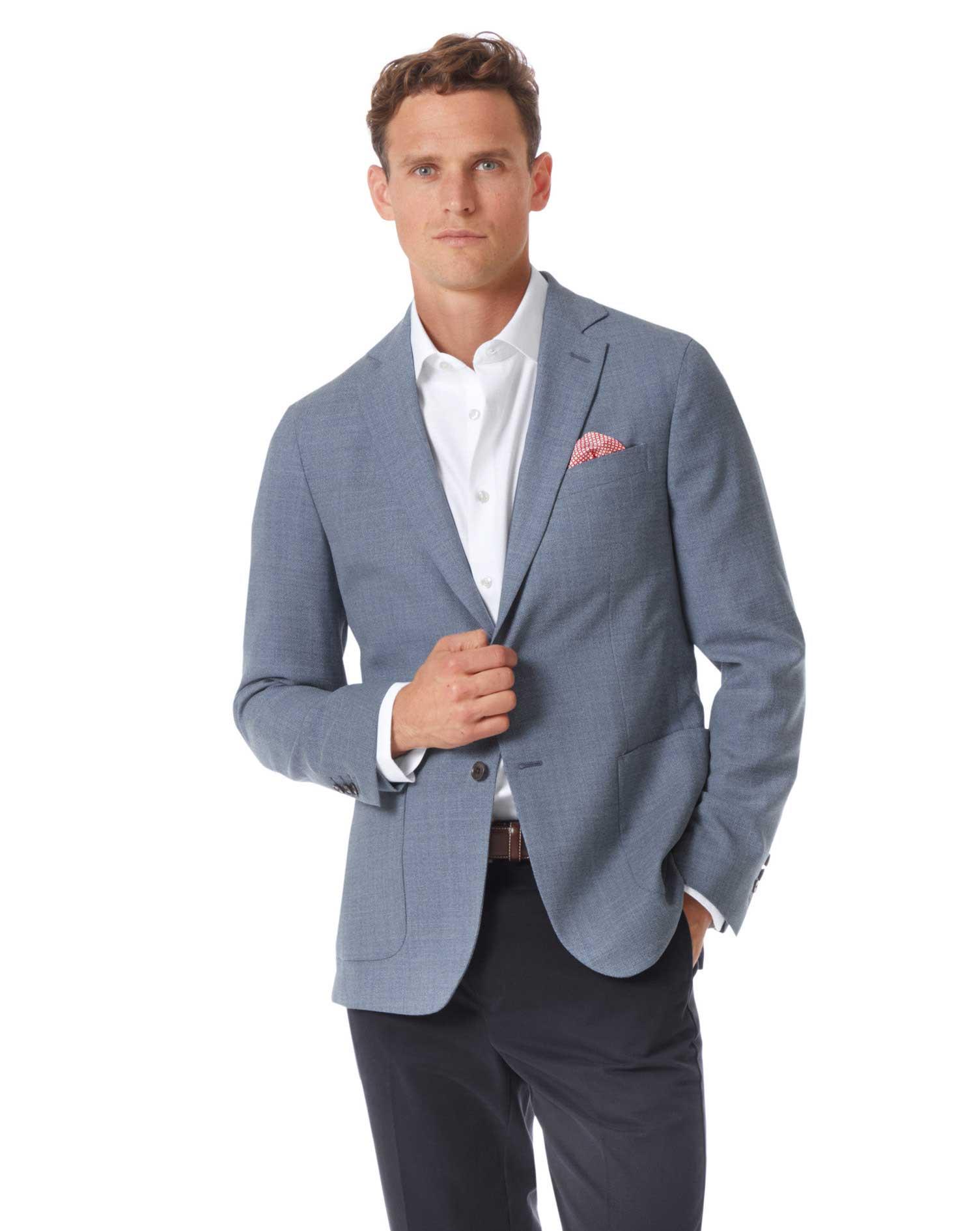 Slim Fit Light Blue Italian Wool Blazer Size 38 Short by Charles Tyrwhitt