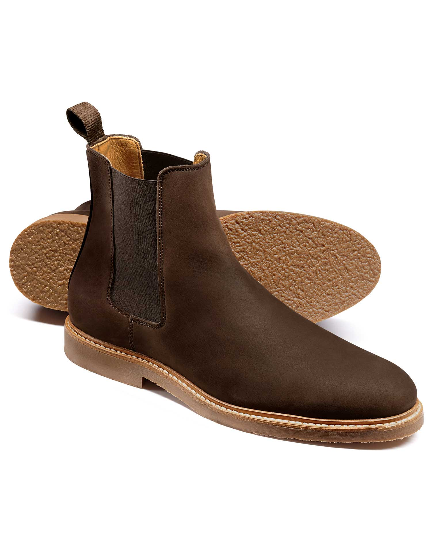 Brown Nubuck Leather Chelsea Boots Size 12 R by Charles Tyrwhitt