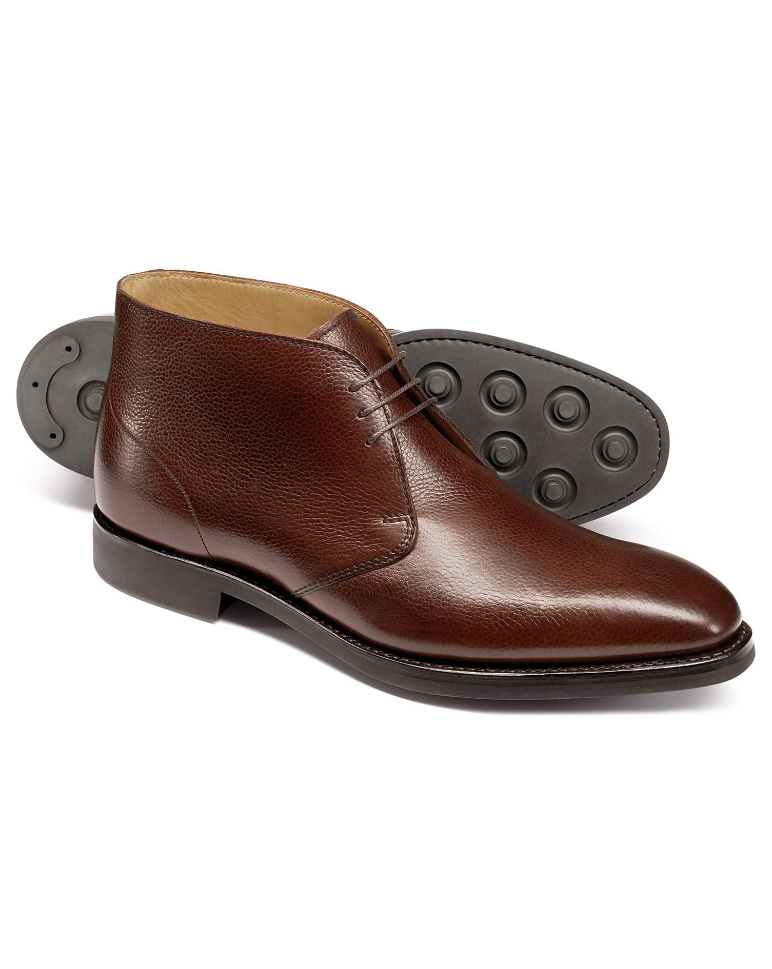Brown Goodyear Welted Chukka Boots Size 7 R by Charles Tyrwhitt