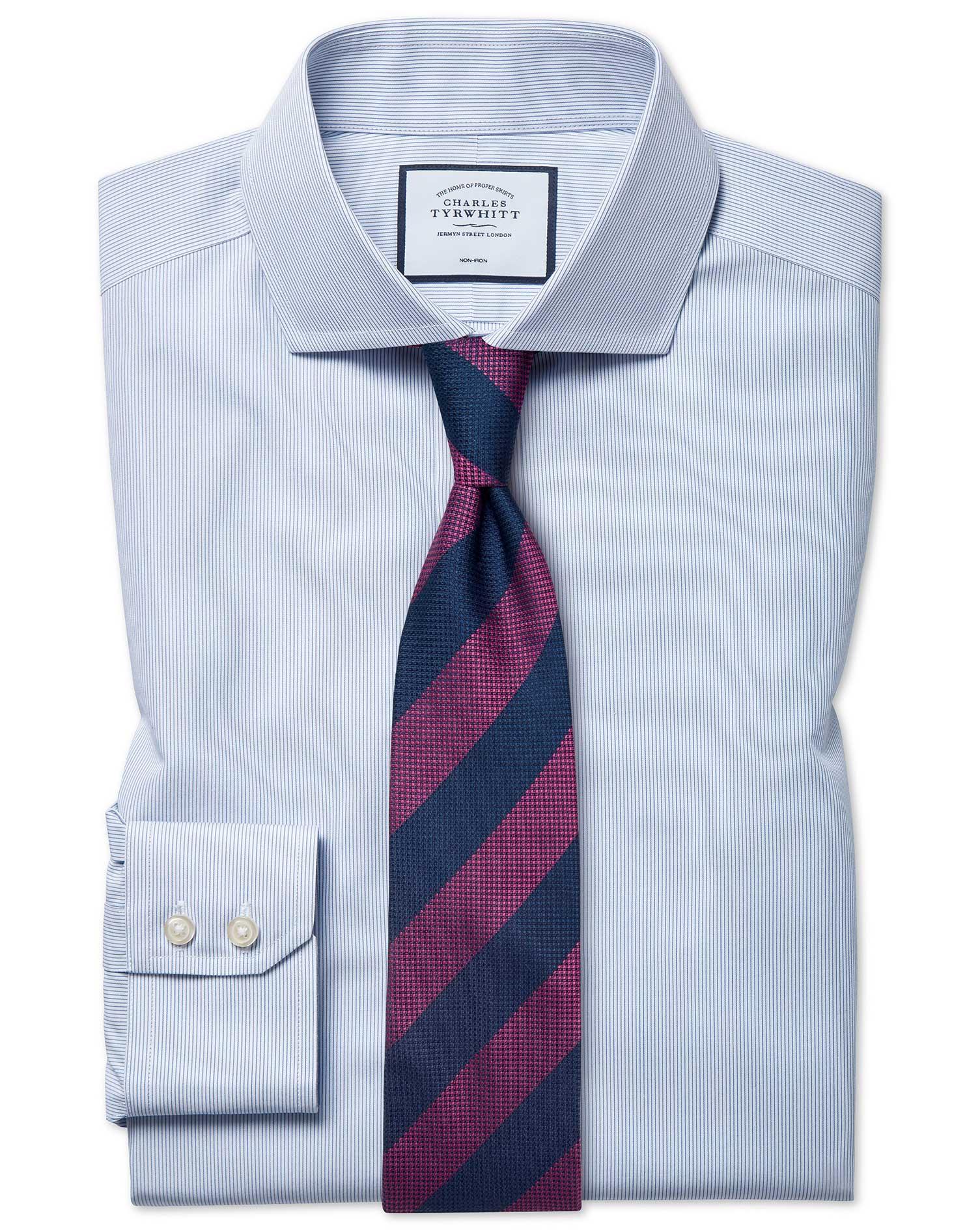 Classic Fit Non-Iron Cutaway Blue Stripe Tyrwhitt Cool Cotton Formal Shirt Single Cuff Size 15/35 by