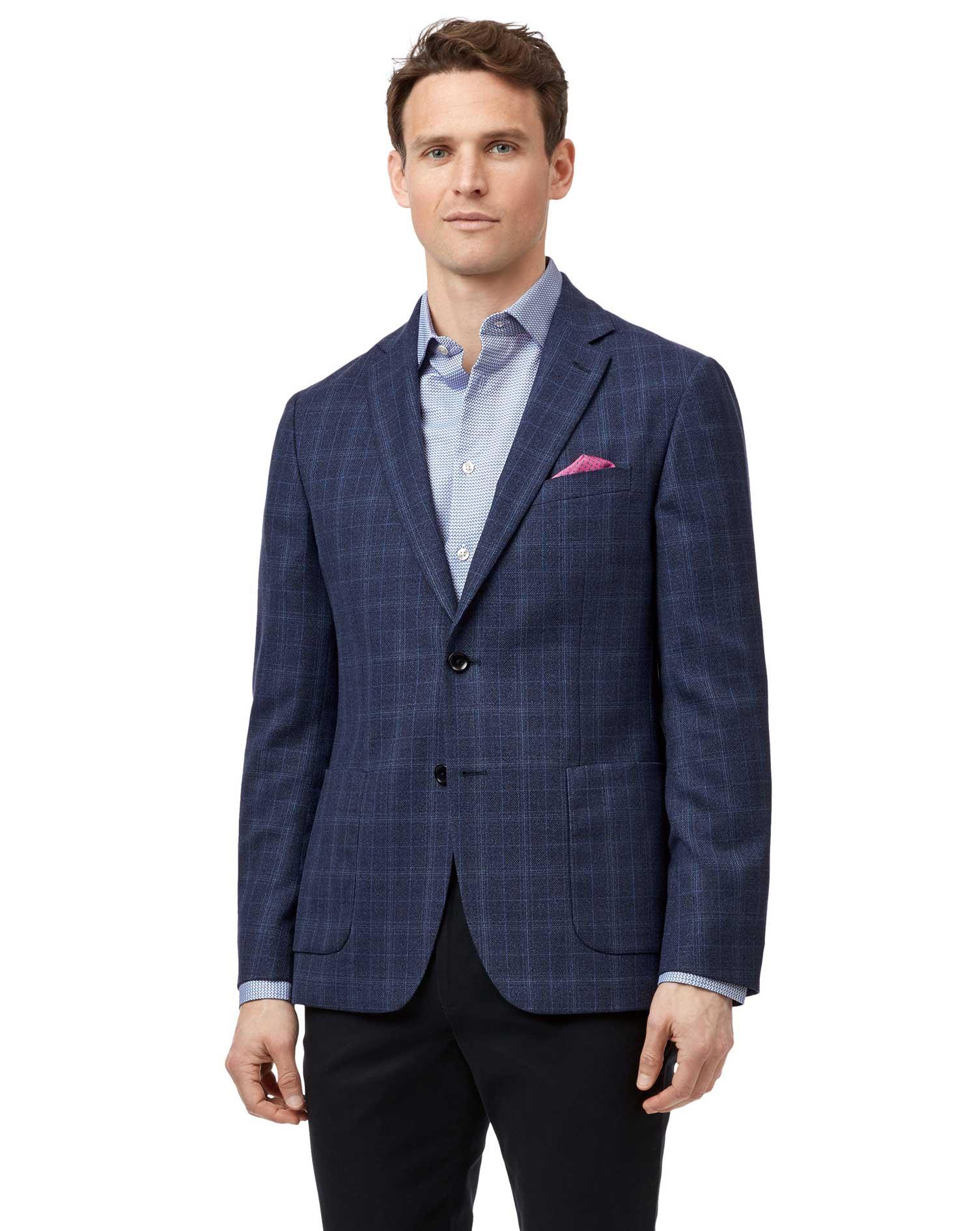 Slim Fit Indigo Checkered Italian Wool Blazer Size 40 Short by Charles Tyrwhitt