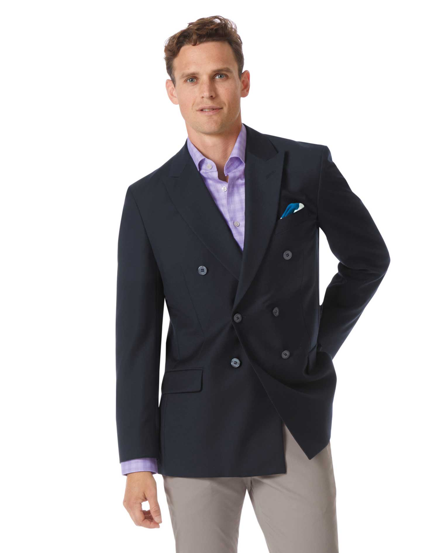 Classic Fit Navy Double Breasted Wool Perfect Blazer Size 42 Regular by Charles Tyrwhitt