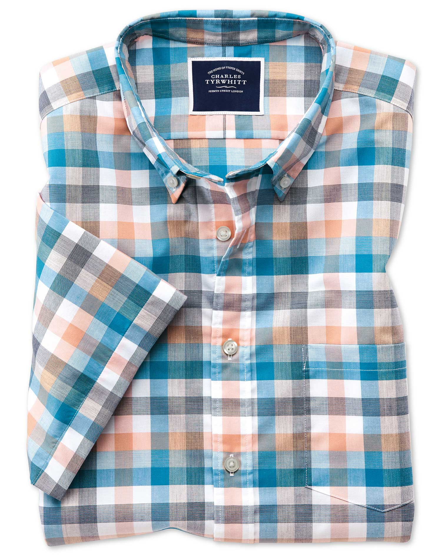 Classic Fit Coral Multi Check Short Sleeve Soft Washed Non-Iron Tyrwhitt Cool Cotton Shirt Single Cu