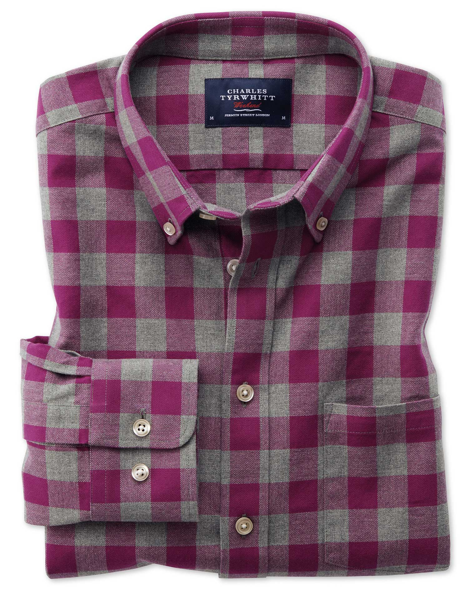 Slim Fit Button-Down Washed Oxford Berry and Grey Check Cotton Shirt Single Cuff Size XS by Charles