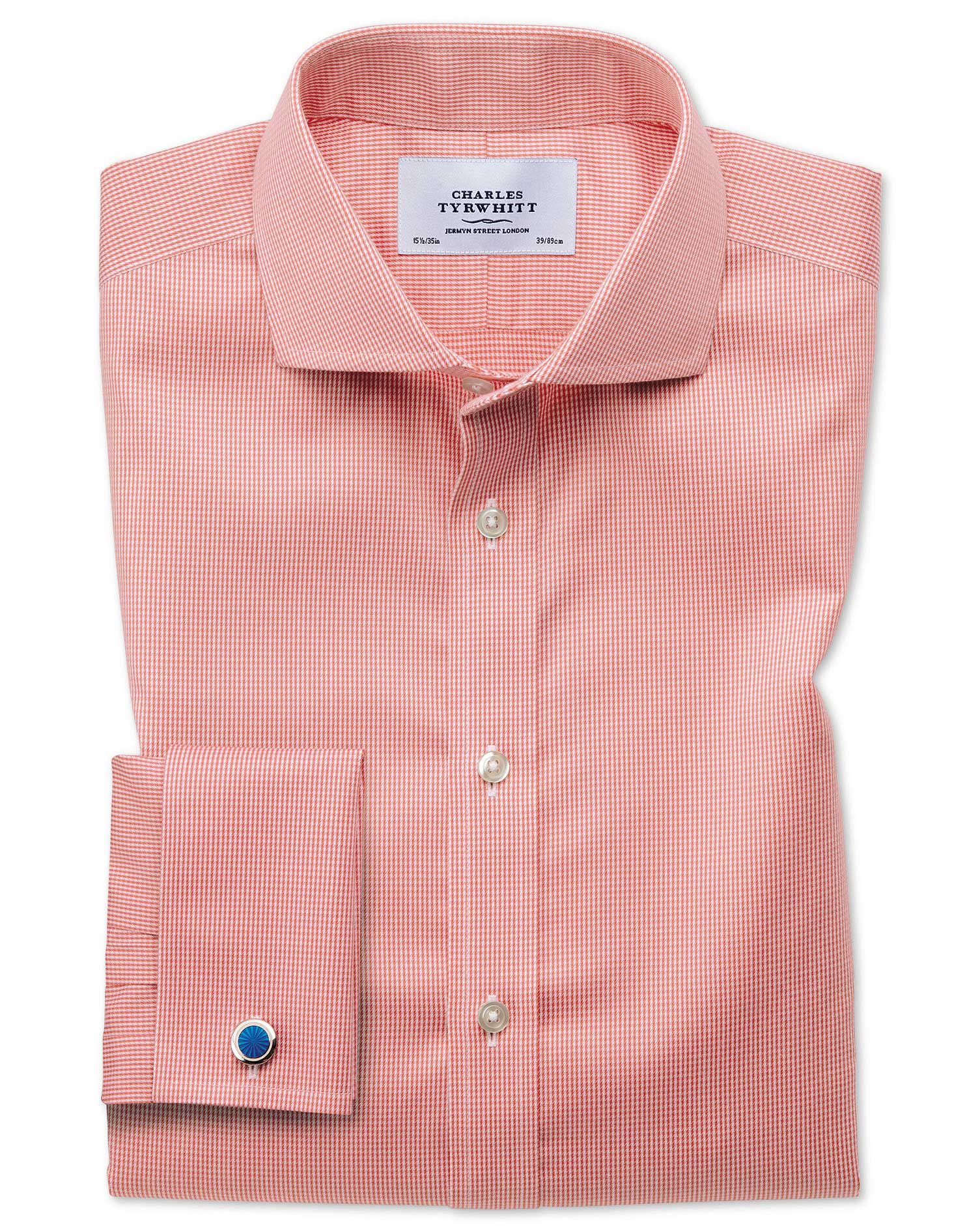 Slim Fit Cutaway Non-Iron Puppytooth Coral Cotton Formal Shirt Double Cuff Size 16/33 by Charles Tyr