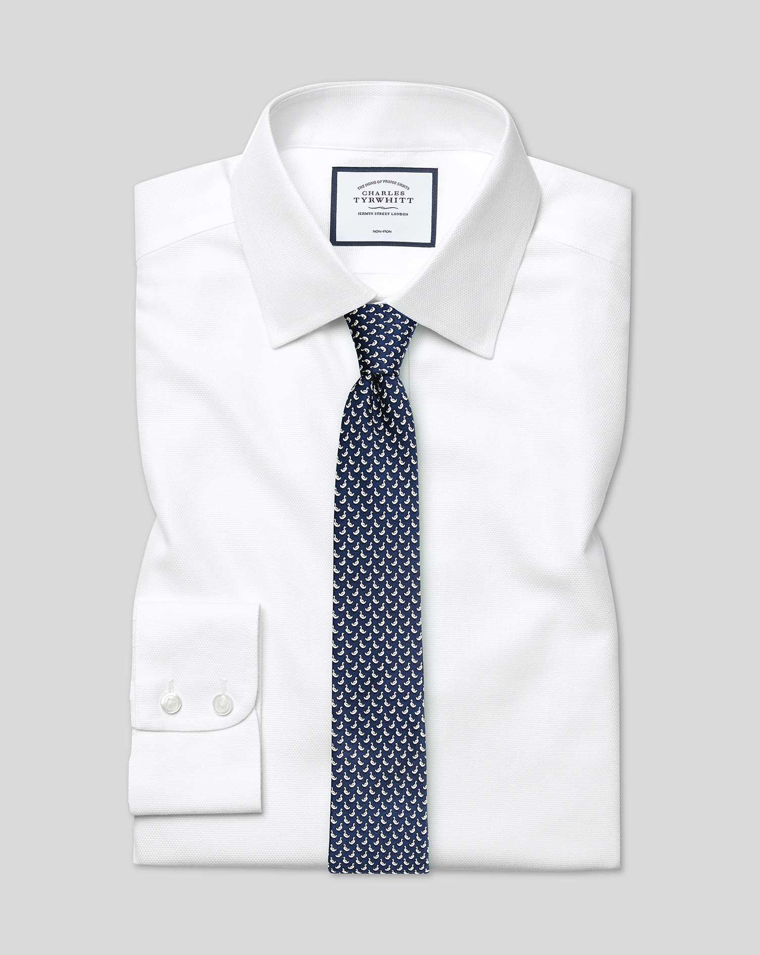 Cotton Extra Slim Fit Non-Iron Dash Weave White Shirt