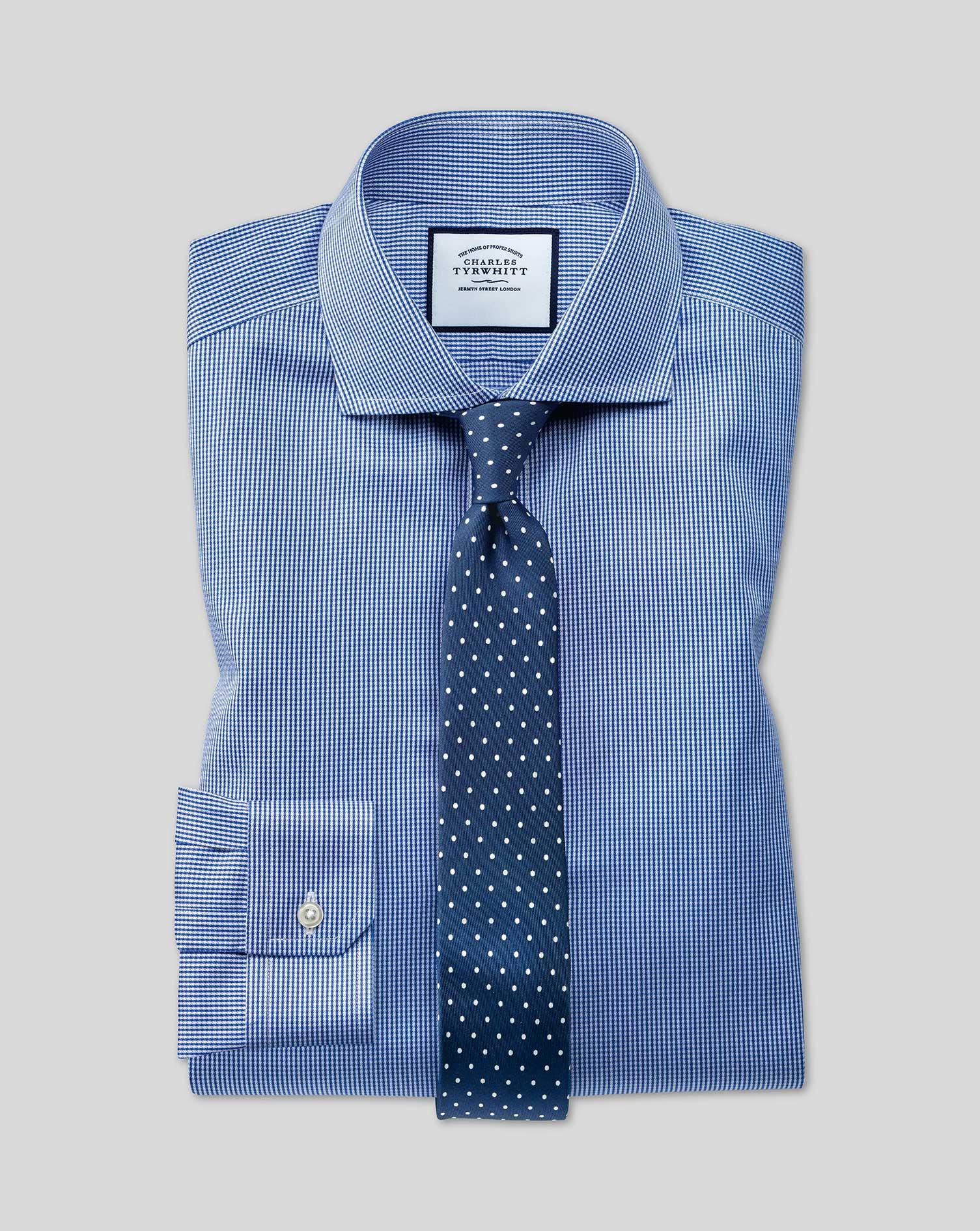 Super Slim Fit Non-Iron Royal Blue Puppytooth Cotton Formal Shirt Single Cuff Size 14/33 by Charles