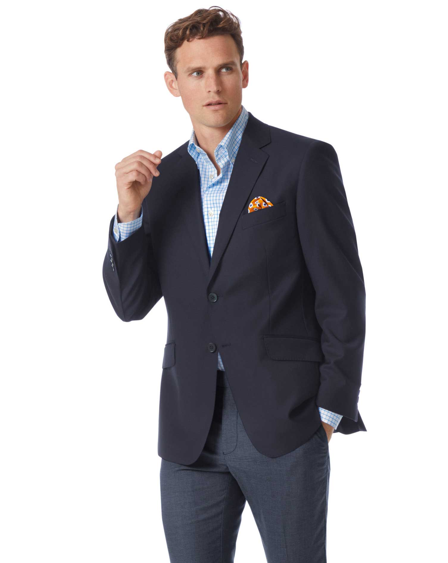 Classic Fit Navy Wool Perfect Blazer Size 40 Short by Charles Tyrwhitt