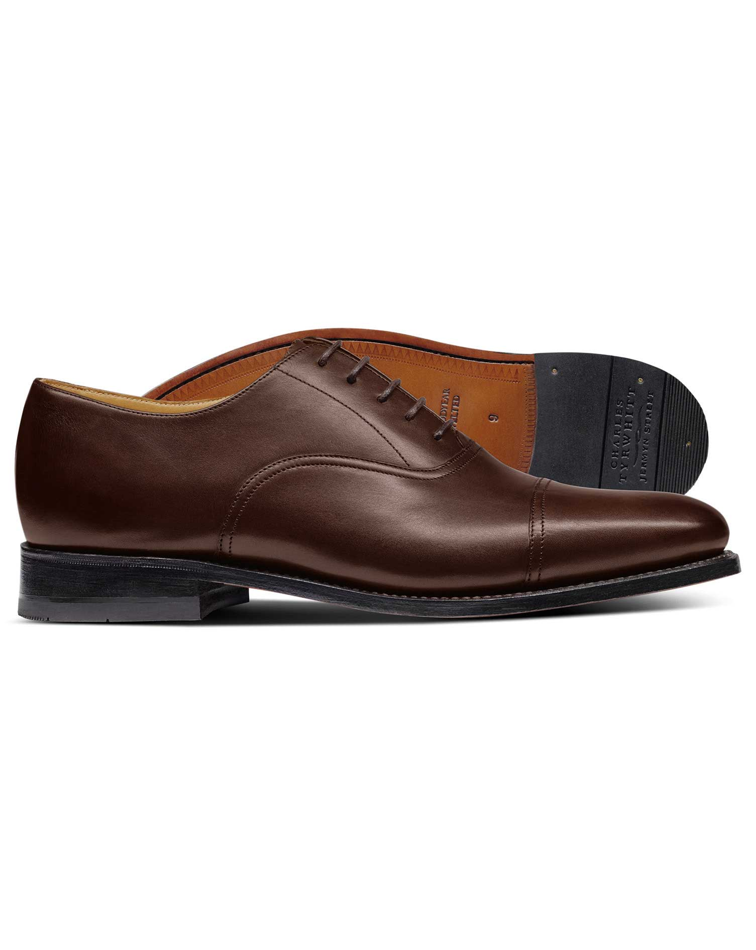 Chocolate Goodyear Welted Oxford Shoe Size 10 W by Charles Tyrwhitt