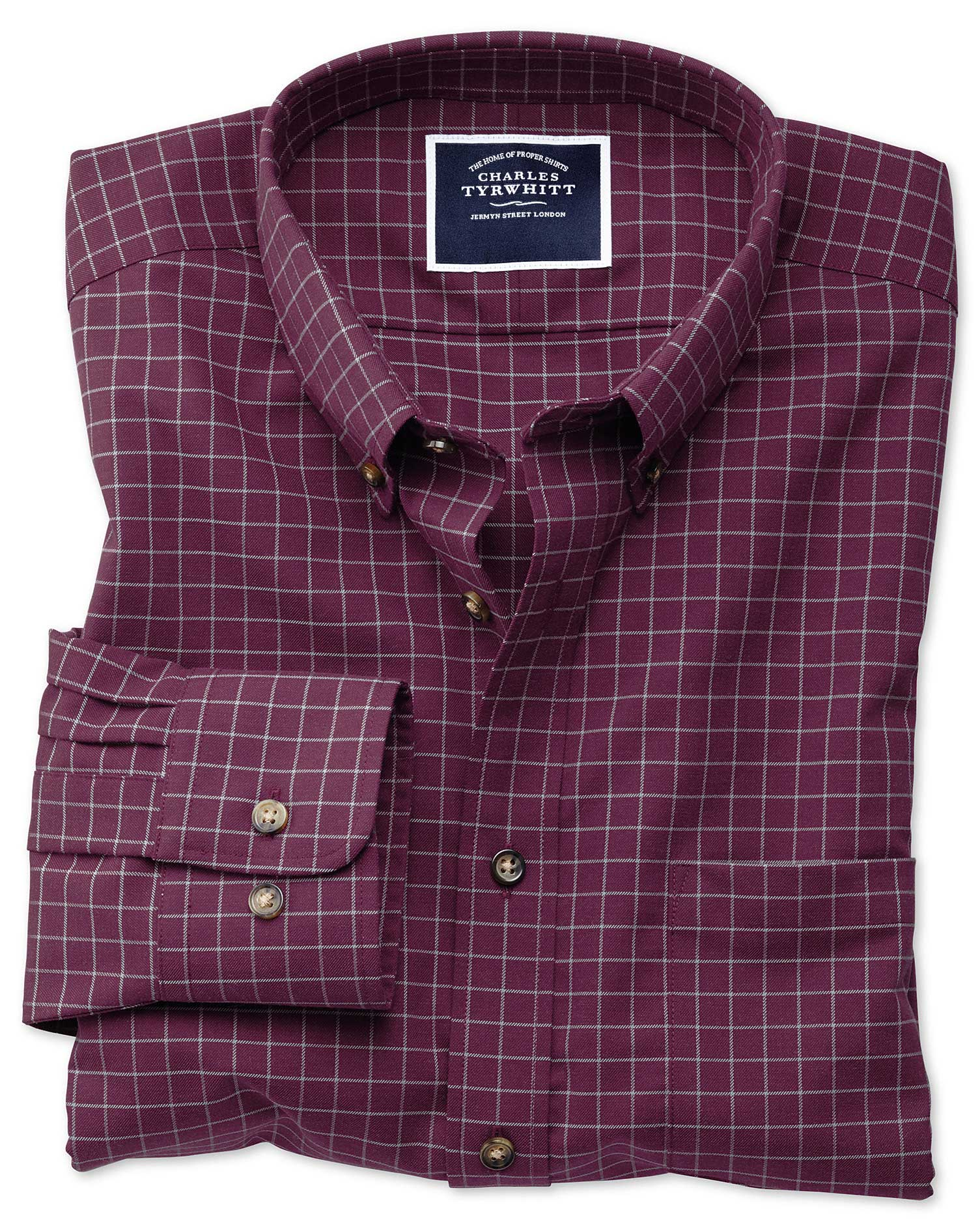 classic fit non-iron berry check twill cotton casual shirt single cuff size xxxl by charles tyrwhitt