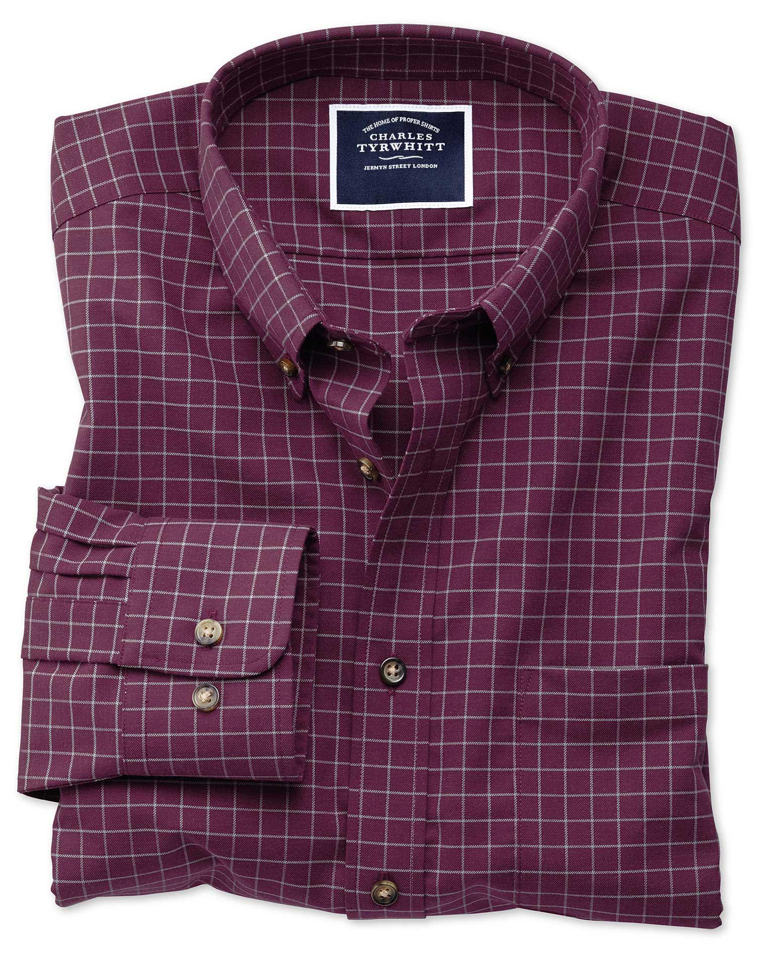 Slim Fit Non-Iron Berry Check Twill Cotton Shirt Single Cuff Size XL by Charles Tyrwhitt