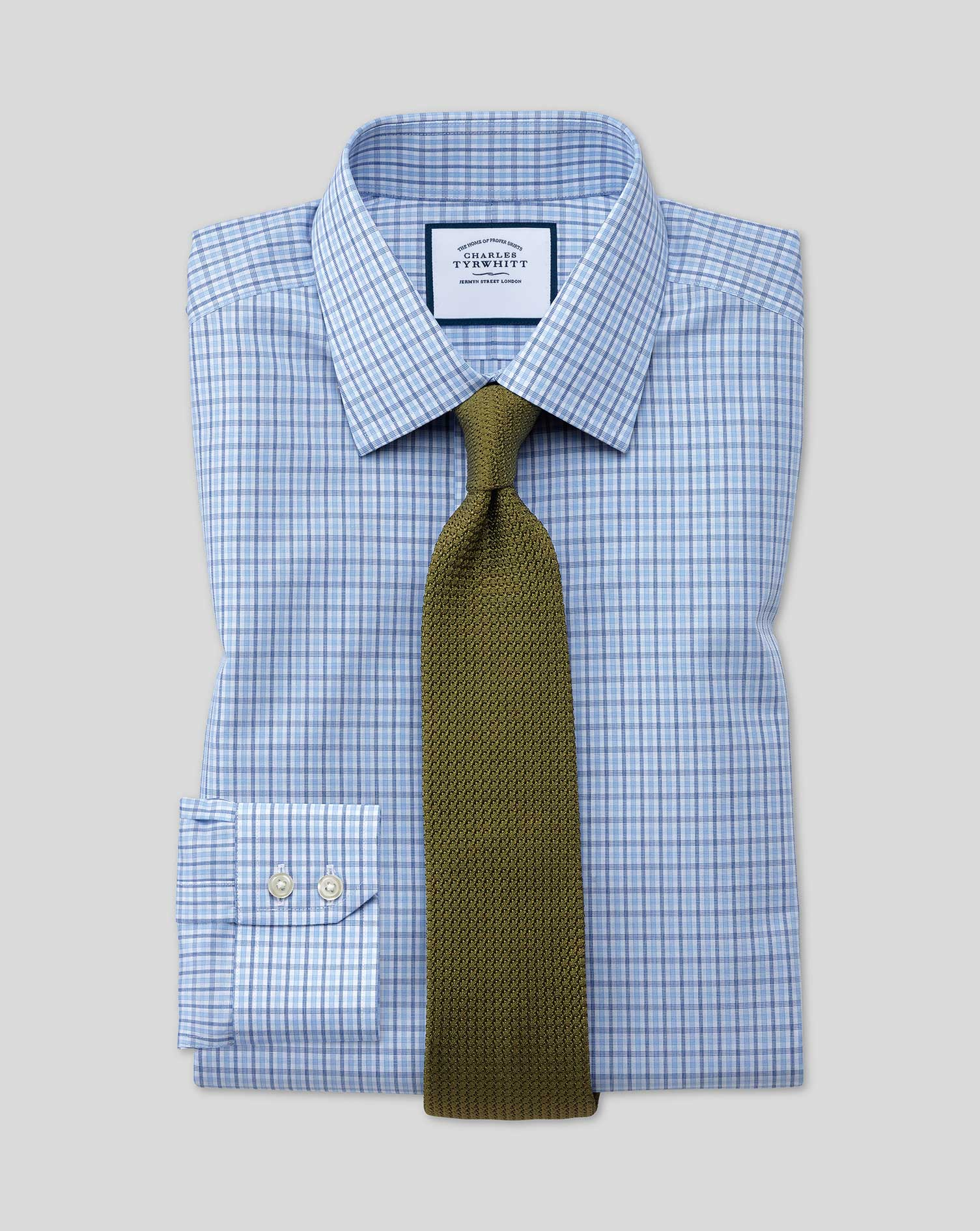 Slim Fit Non-Iron Blue and Sky Blue Check Cotton Formal Shirt Single Cuff Size 16/36 by Charles Tyrw
