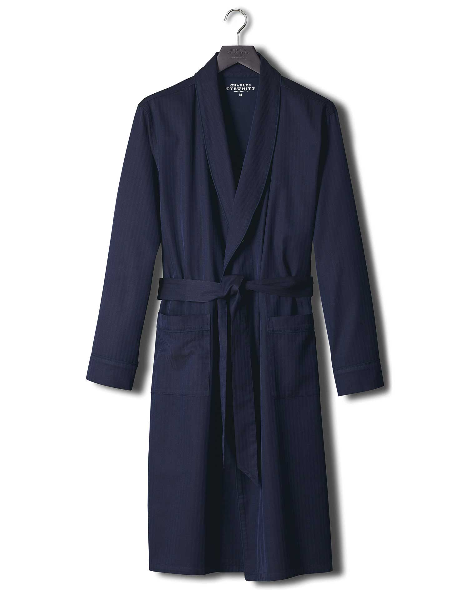 Navy Herringbone Robe Size XL by Charles Tyrwhitt