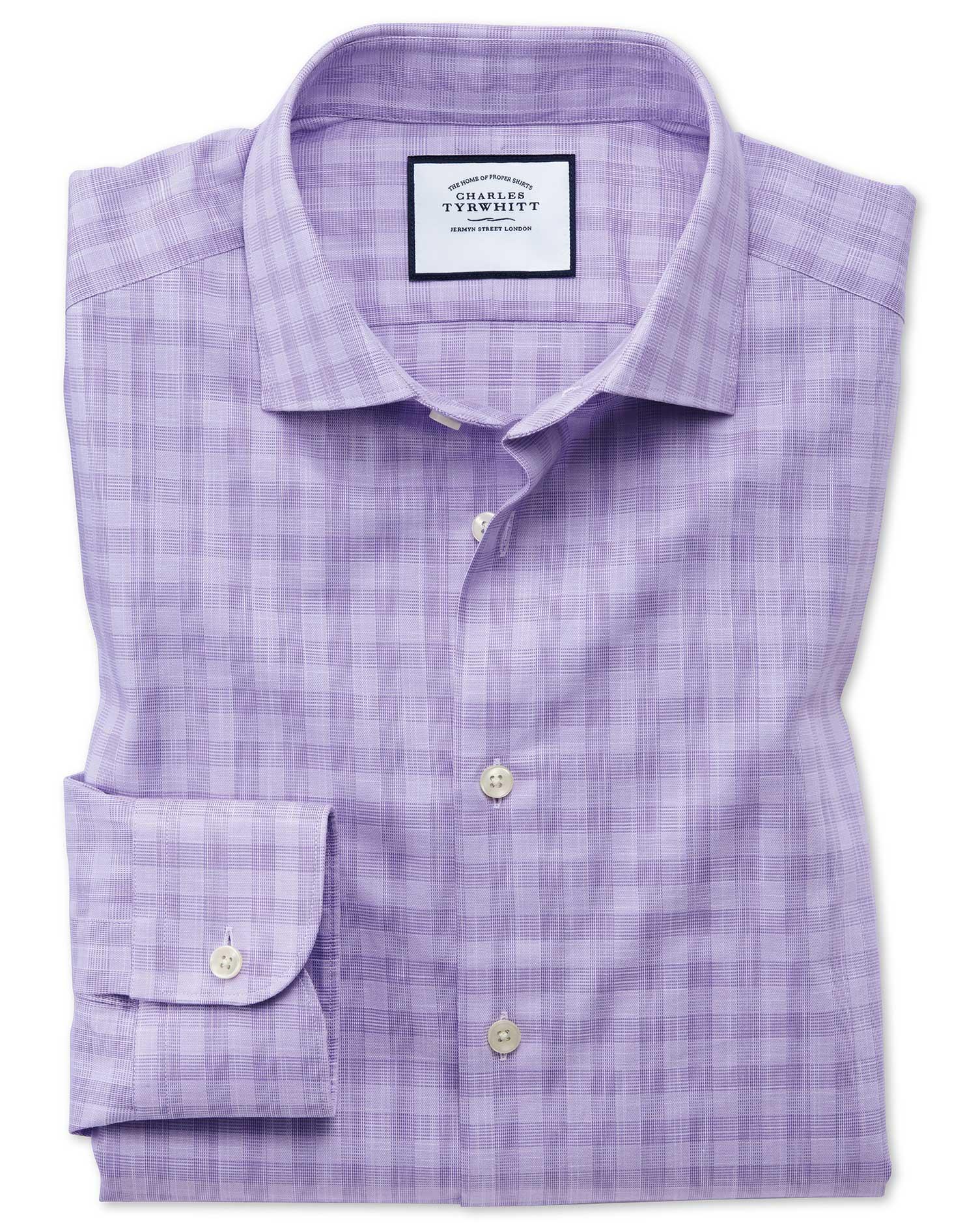 Extra Slim Fit Business Casual Egyptian Cotton Slub Lilac Check Formal Shirt Single Cuff Size 16/32